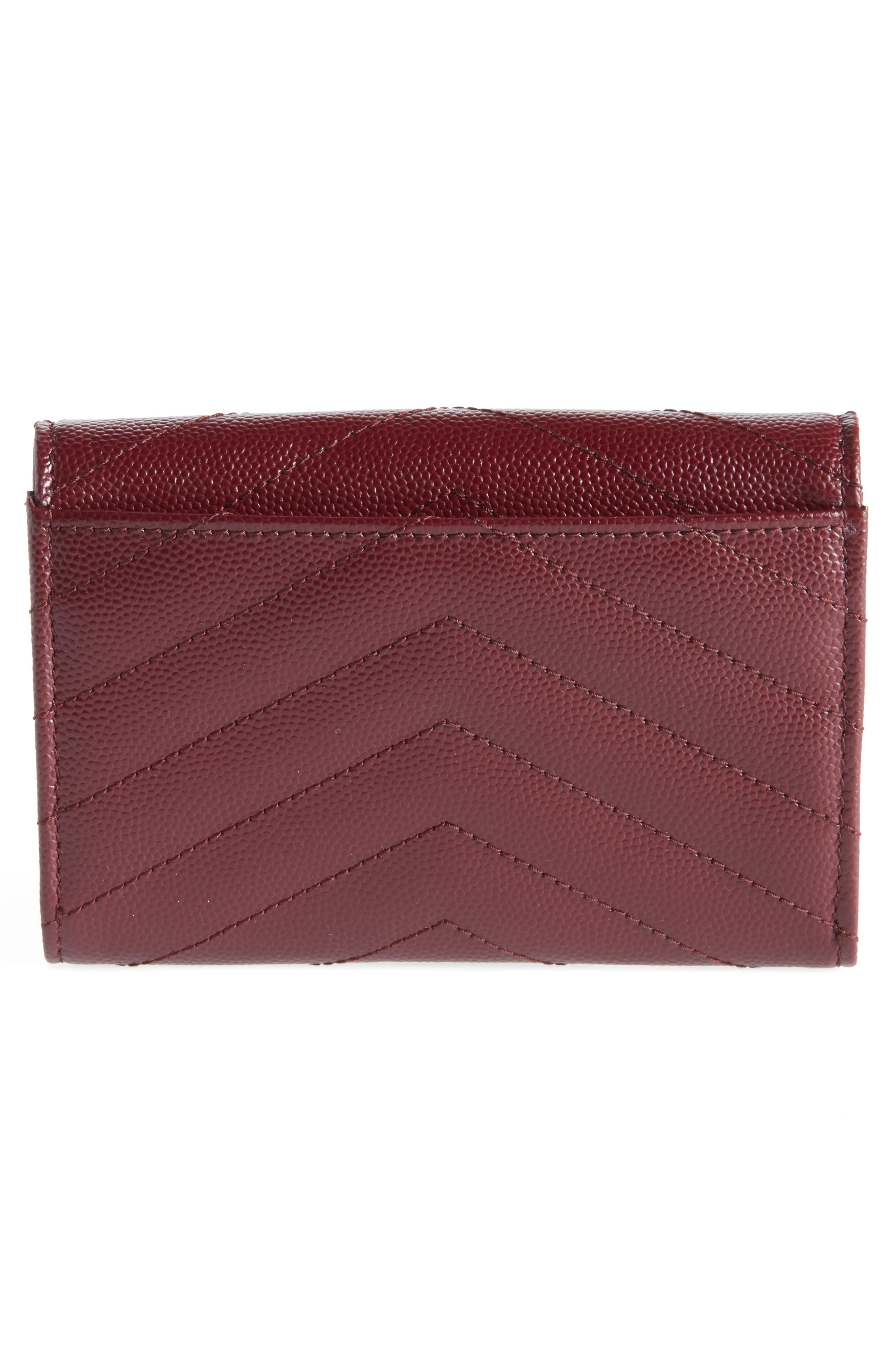 'Monogram' Quilted Leather French Wallet,                             Alternate thumbnail 4, color,                             ROUGE LEGION