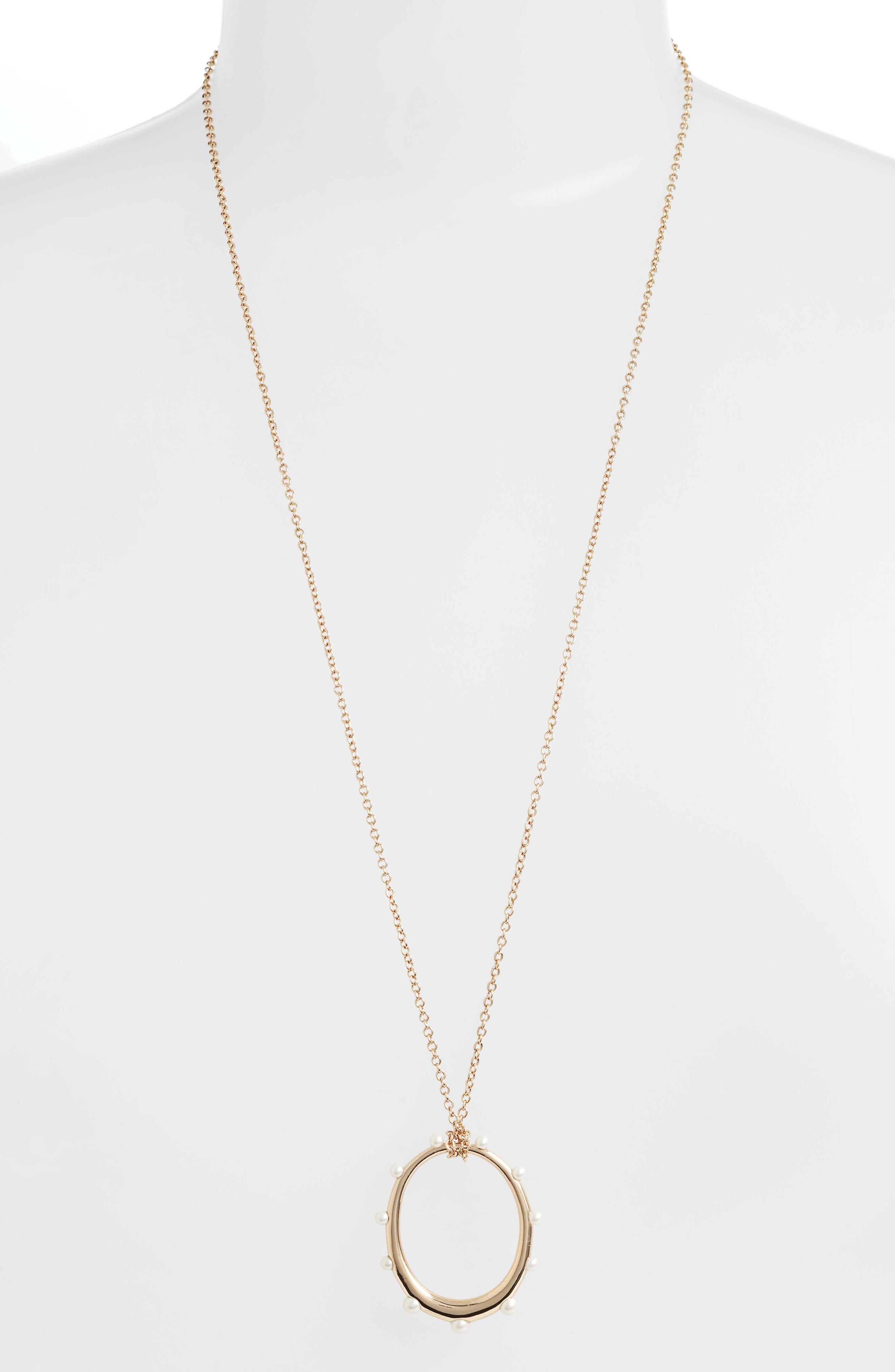 Imitation Pearl Circle Pendant Necklace,                             Main thumbnail 1, color,                             GOLD/ PEARL