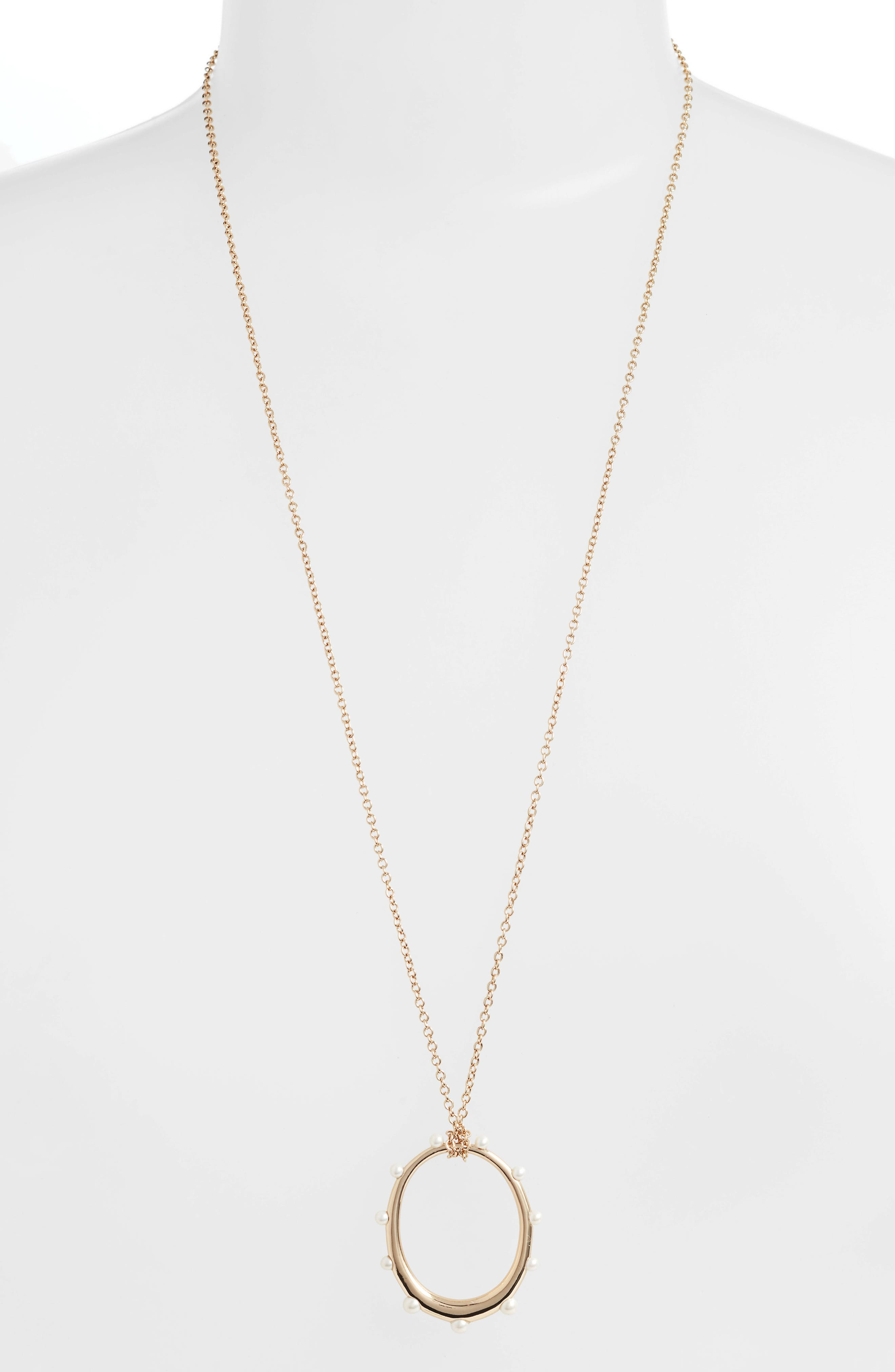 Imitation Pearl Circle Pendant Necklace, Main, color, GOLD/ PEARL