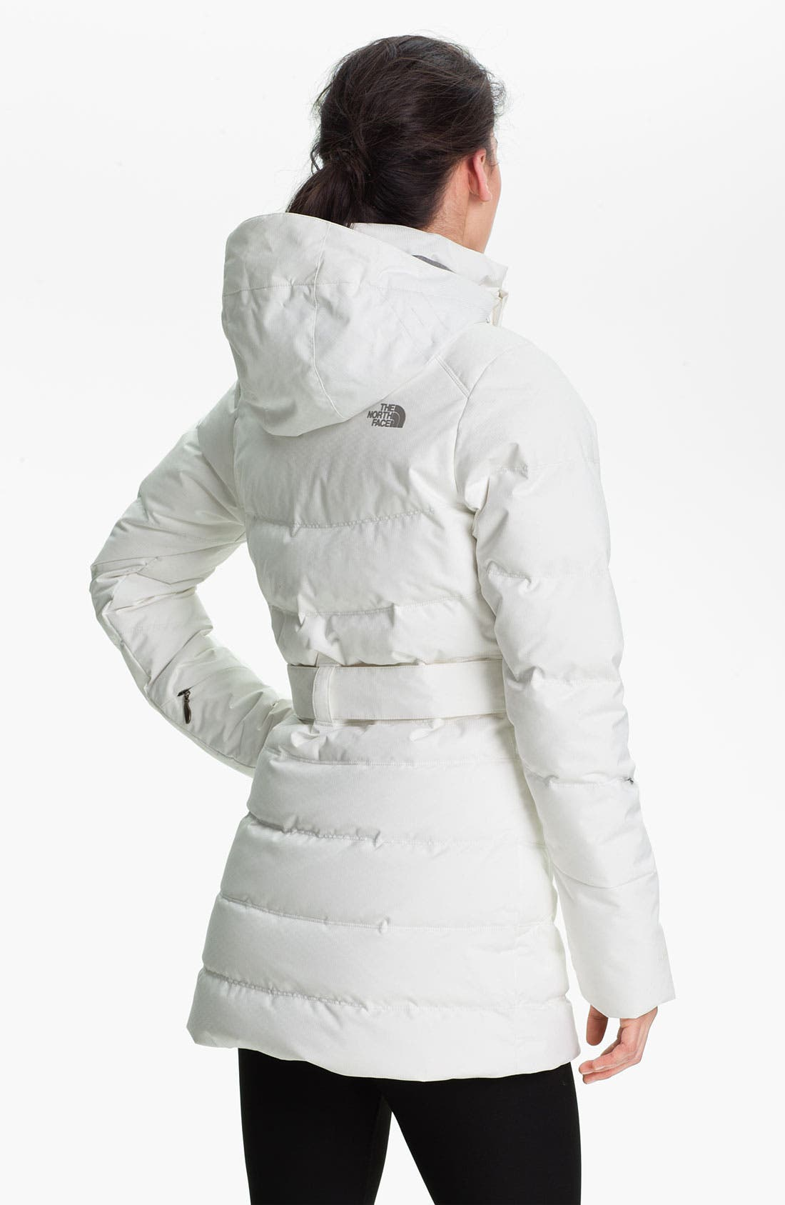 'Greta' Belted Down Jacket,                             Alternate thumbnail 3, color,                             100
