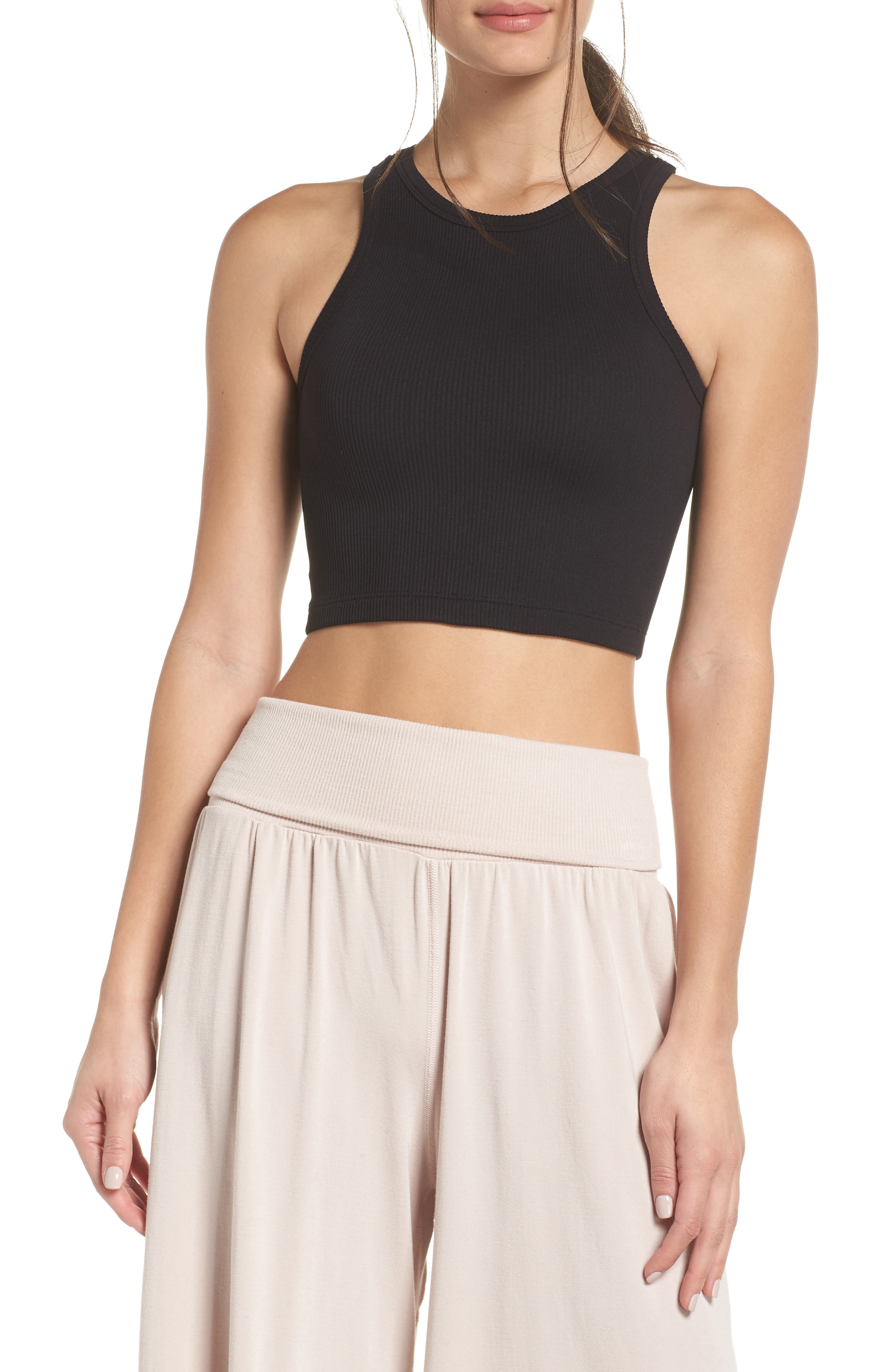 FREE PEOPLE MOVEMENT,                             Free People FP Movement Roxy Seamless Crop Tank,                             Main thumbnail 1, color,                             BLACK