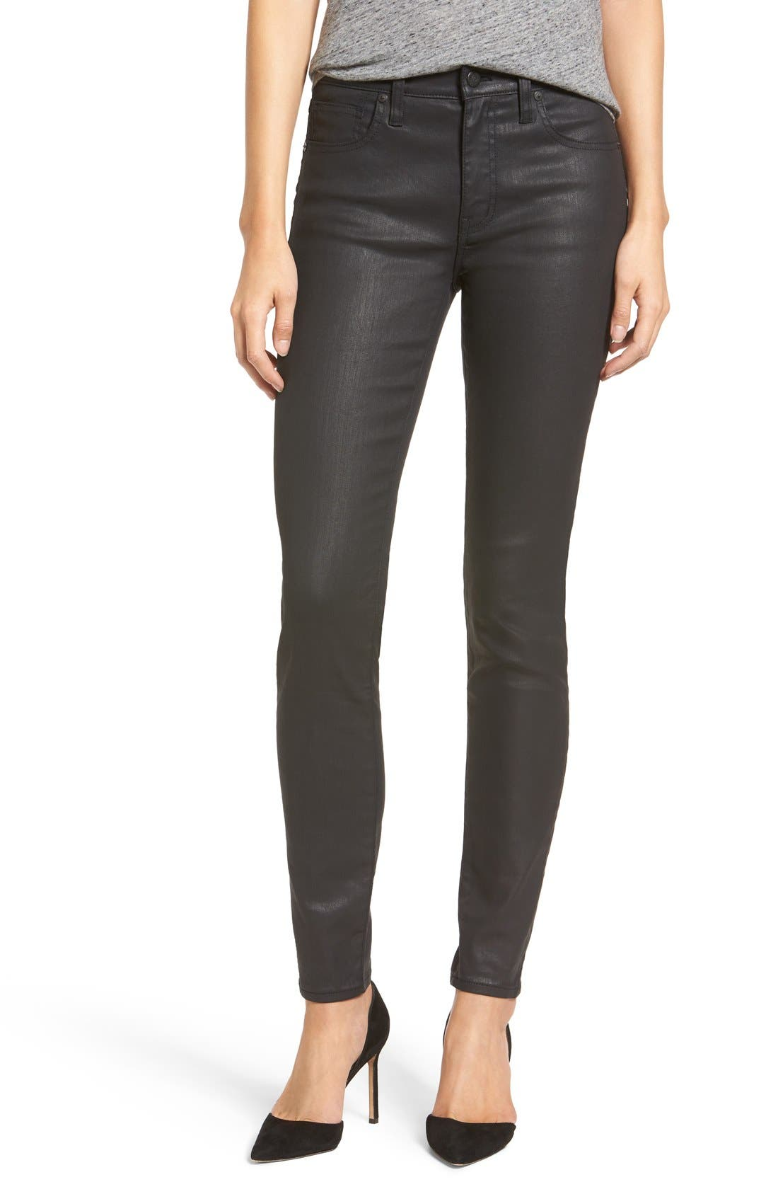 'High Riser' Coated Skinny Jeans,                             Main thumbnail 1, color,                             001
