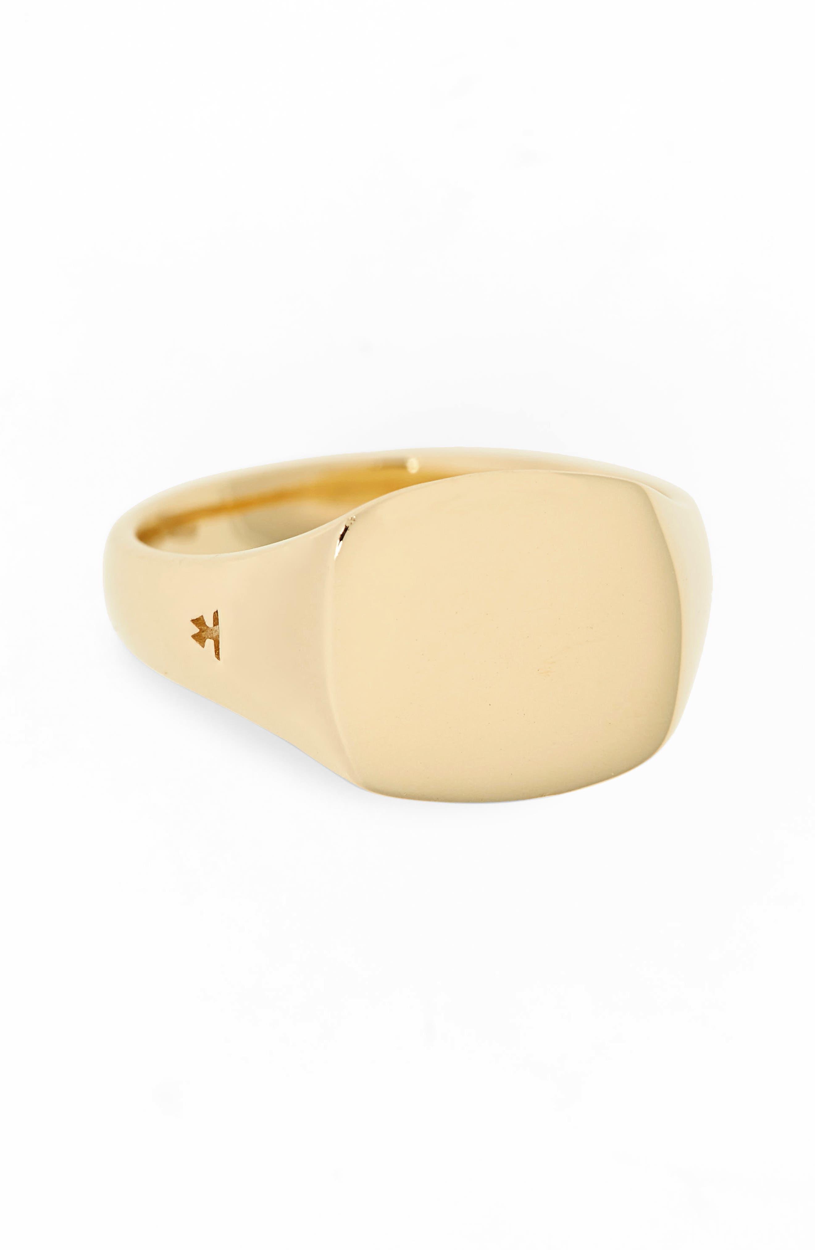 Mini Gold Cushion Signet Ring,                             Alternate thumbnail 2, color,