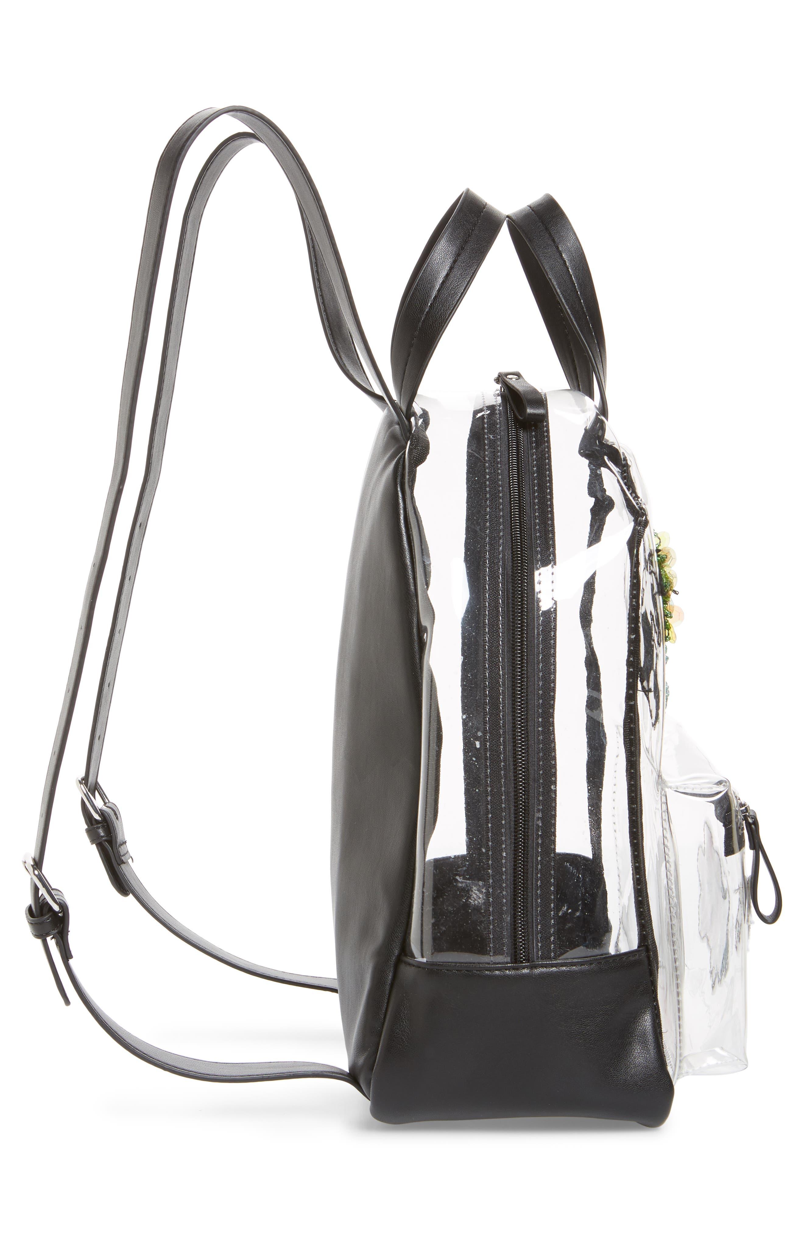 Clear Appliquéd Backpack,                             Alternate thumbnail 4, color,