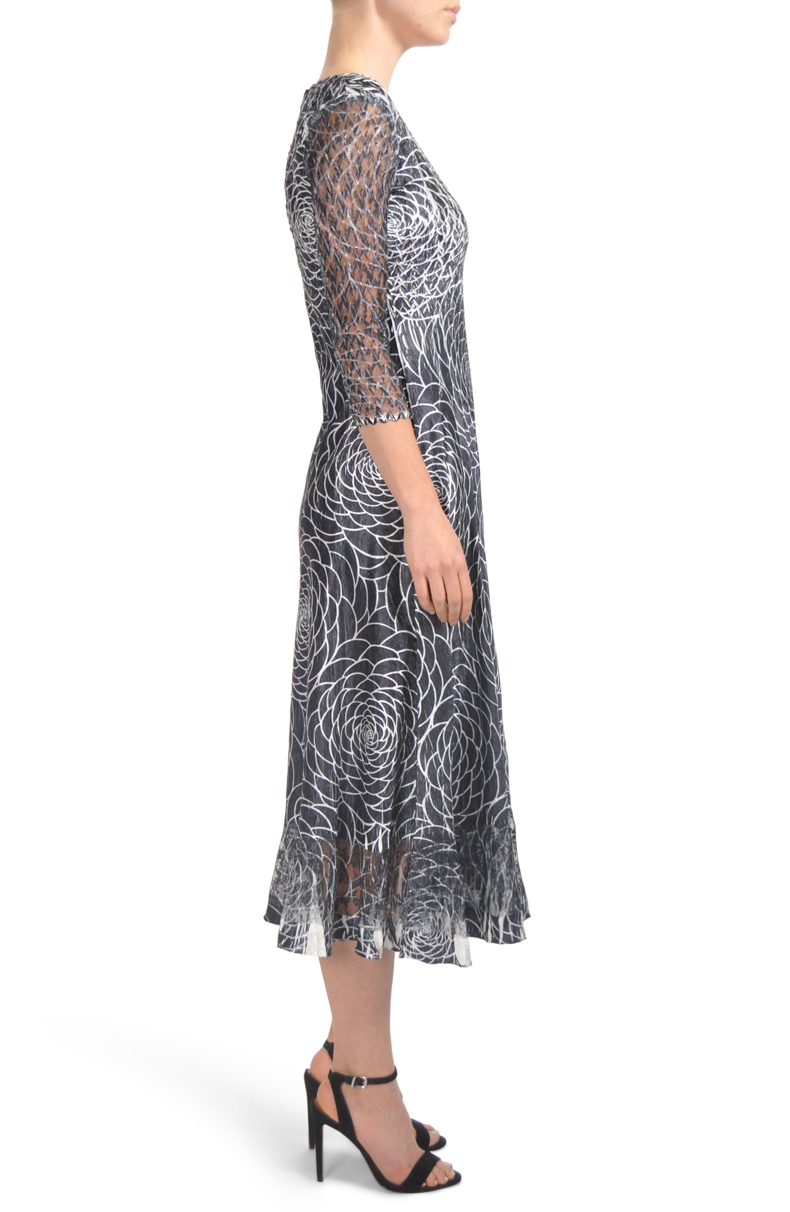 Charmeuse & Lace Midi Dress,                             Alternate thumbnail 3, color,                             001