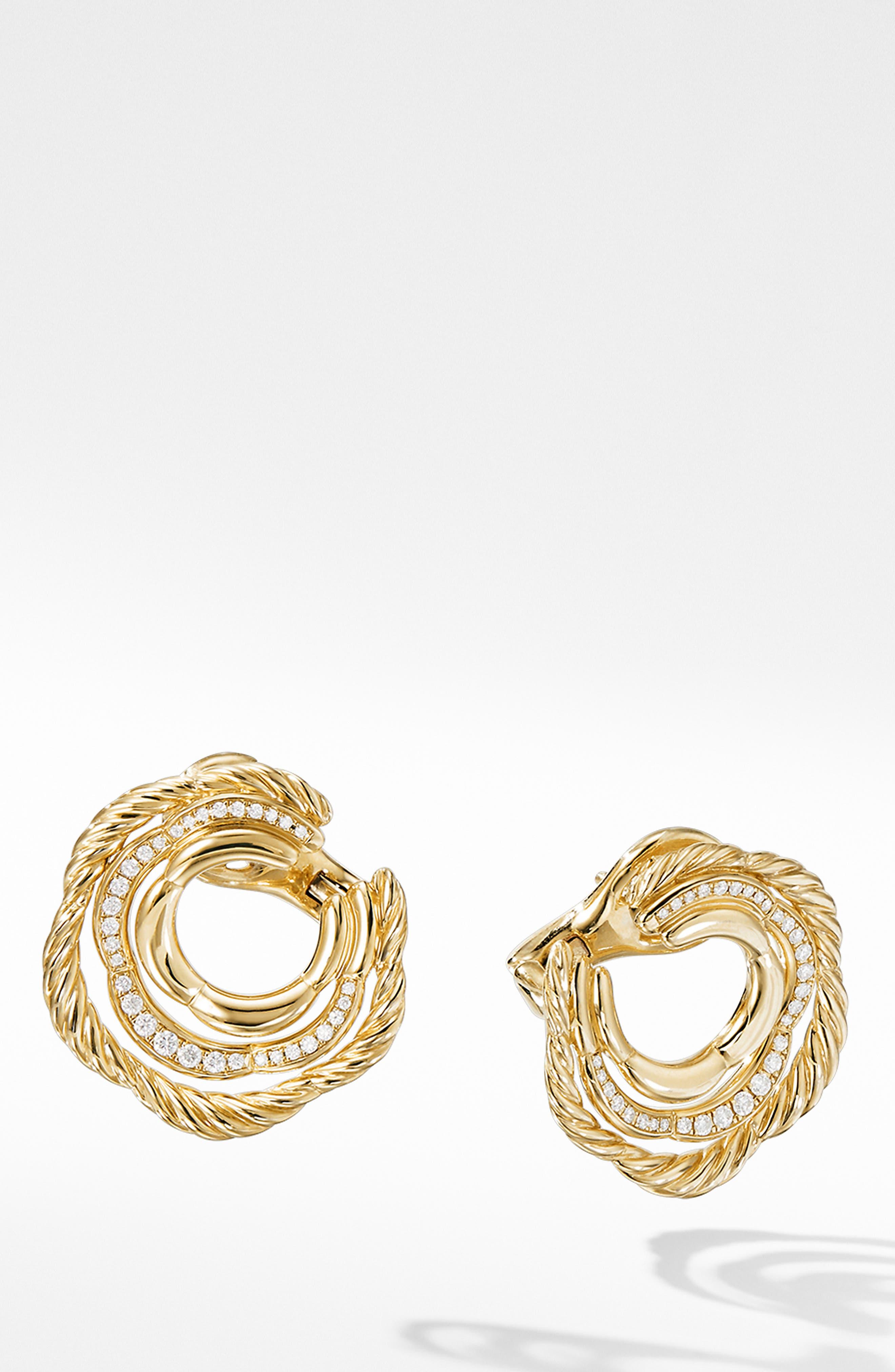 Tides Huggie Hoop Earrings with Pavé Diamonds,                             Main thumbnail 1, color,                             GOLD/ DIAMOND