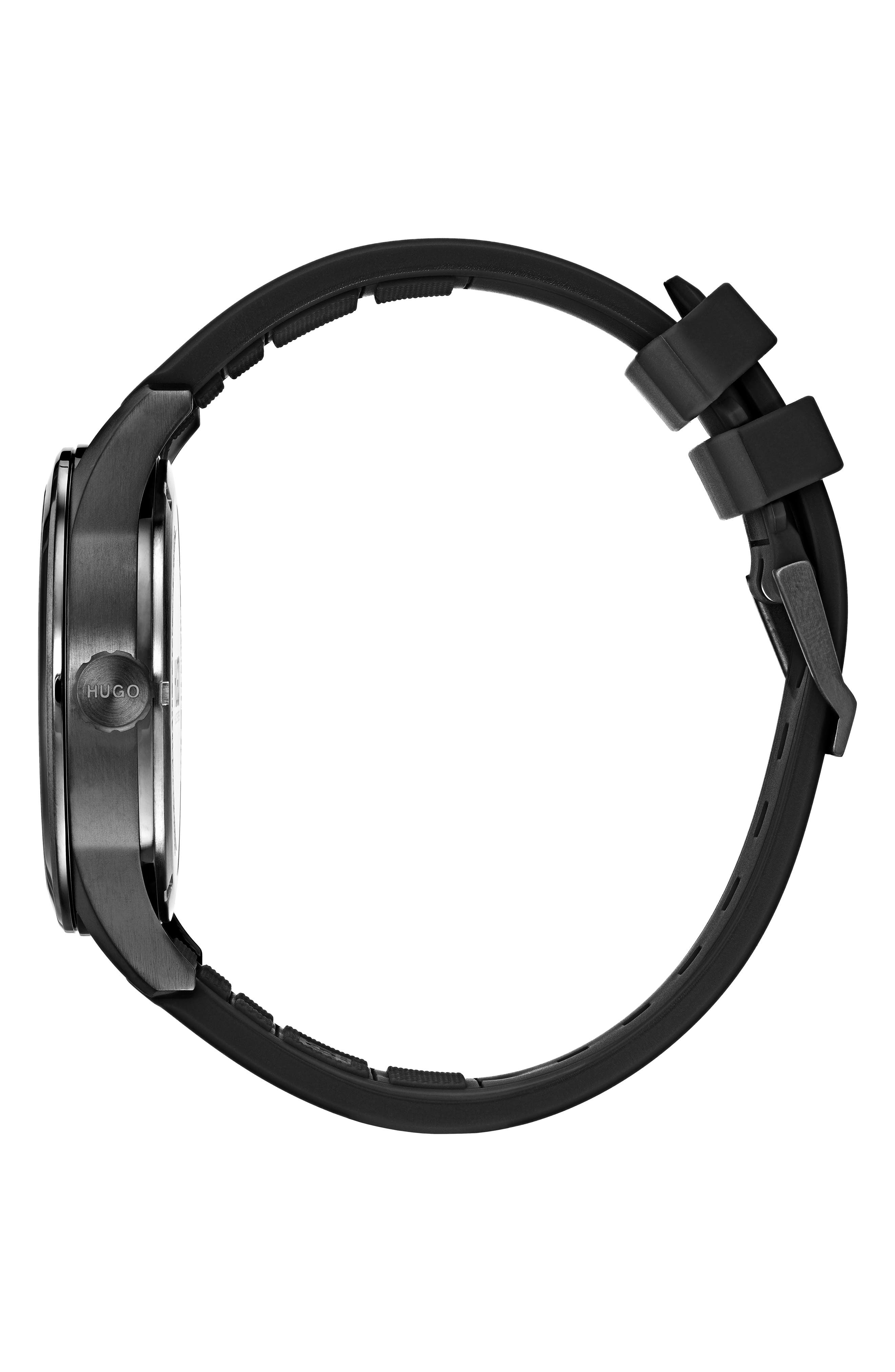 Automatic Silicone Strap Watch, 40mm,                             Alternate thumbnail 3, color,                             BLACK