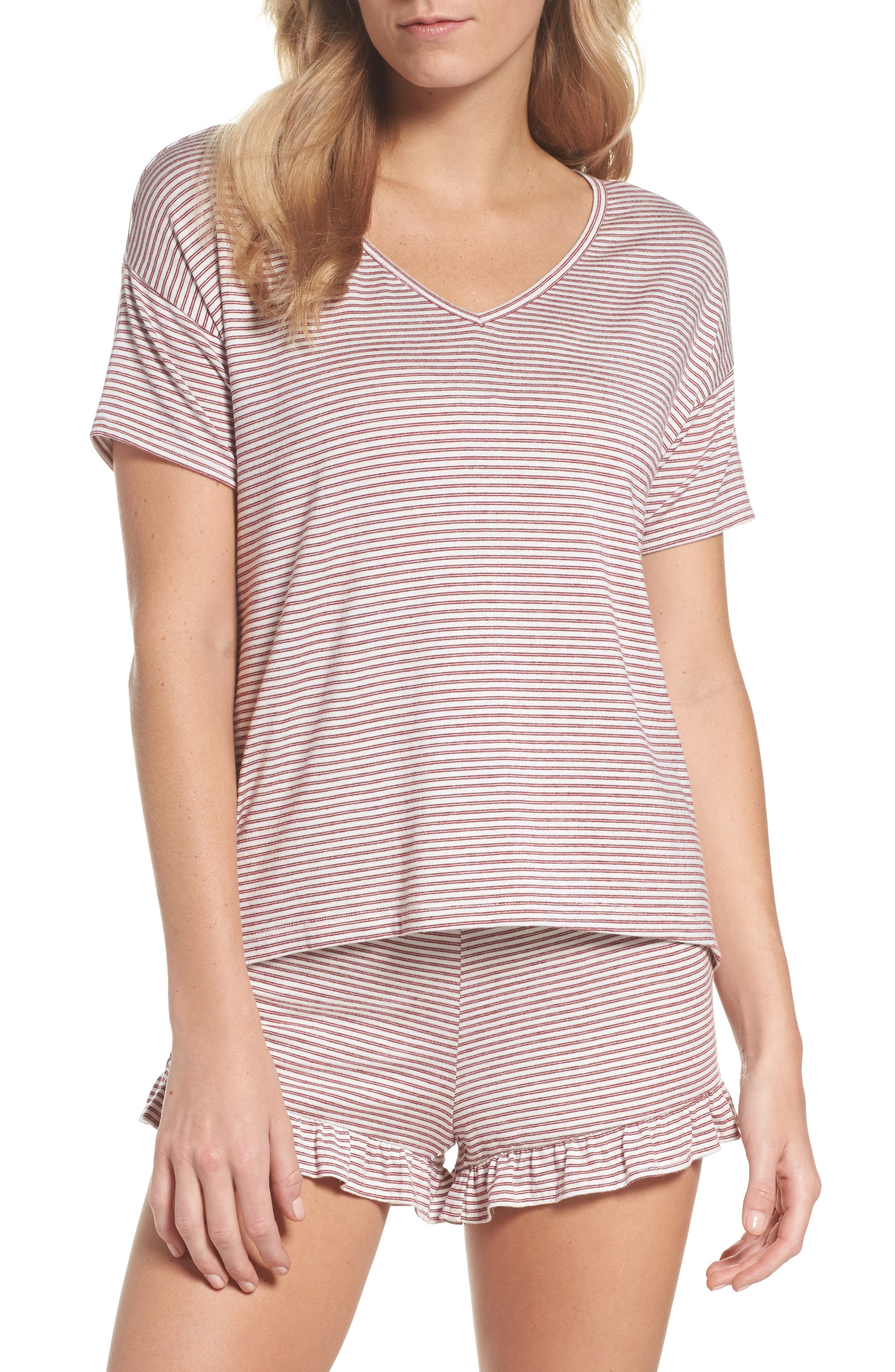 Wilona Back Tie Stripe Tee,                         Main,                         color, RED/ WHITE