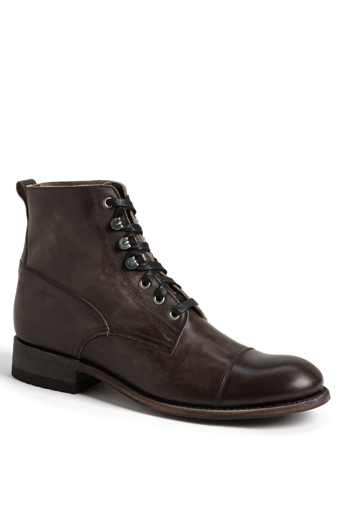 'Station' Cap Toe Boot,                             Main thumbnail 1, color,                             ANTRACITE LEATHER