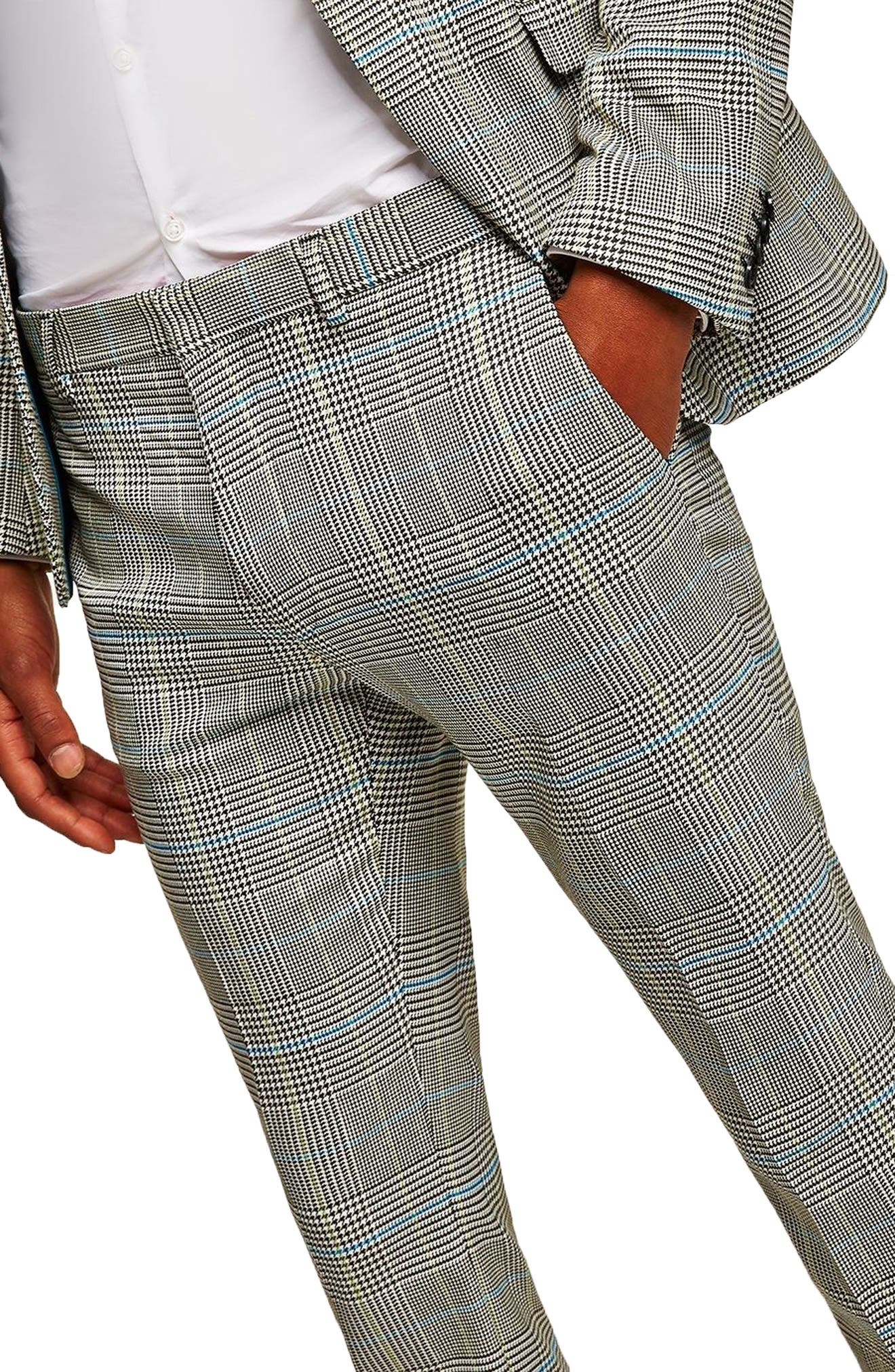 Skinny Fit Houndstooth Suit Trousers,                             Alternate thumbnail 3, color,                             GREY MULTI