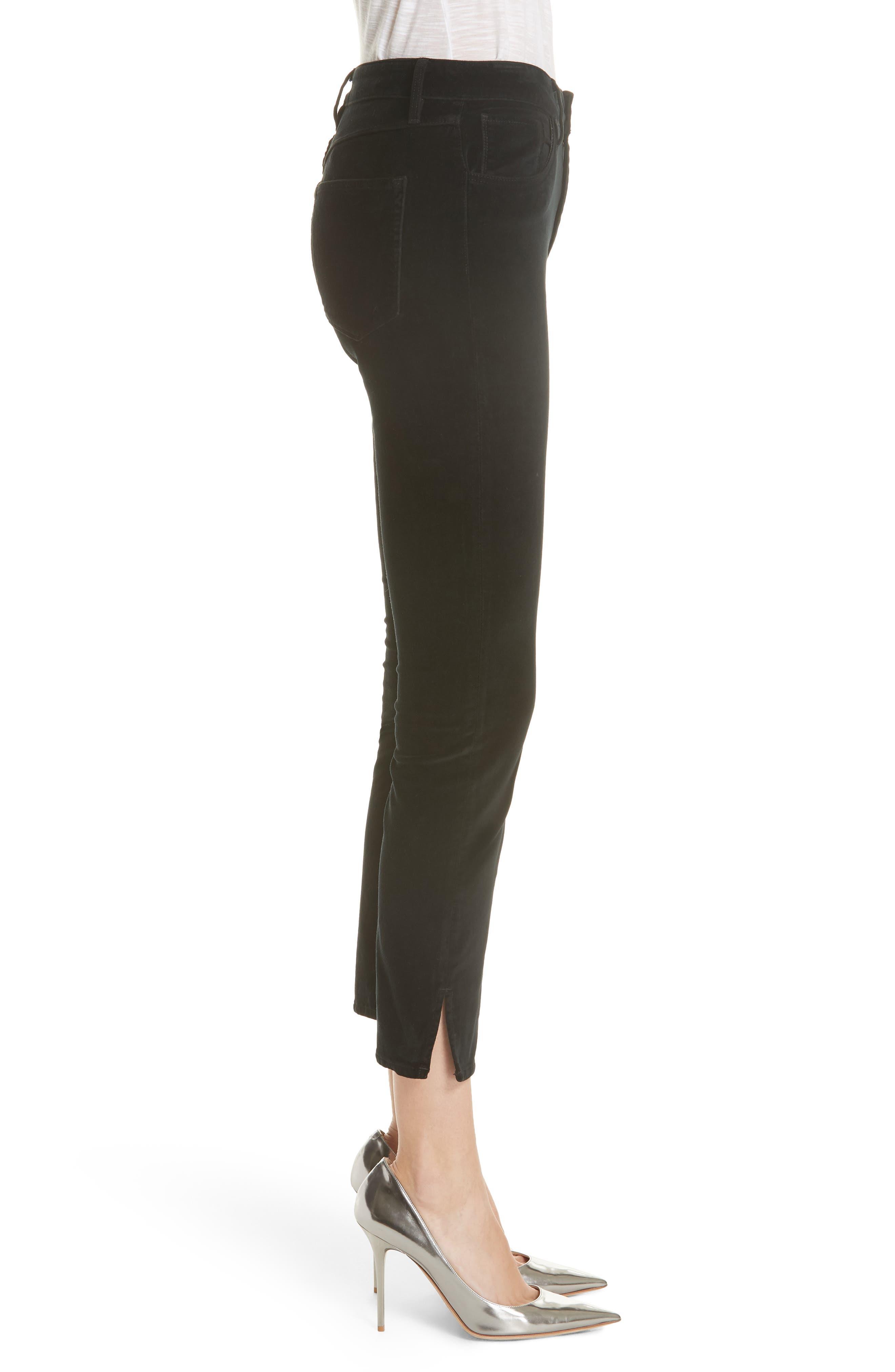 W3 Higher Ground Mini Split Ankle Velvet Jeans,                             Alternate thumbnail 3, color,                             EBONY EBONY