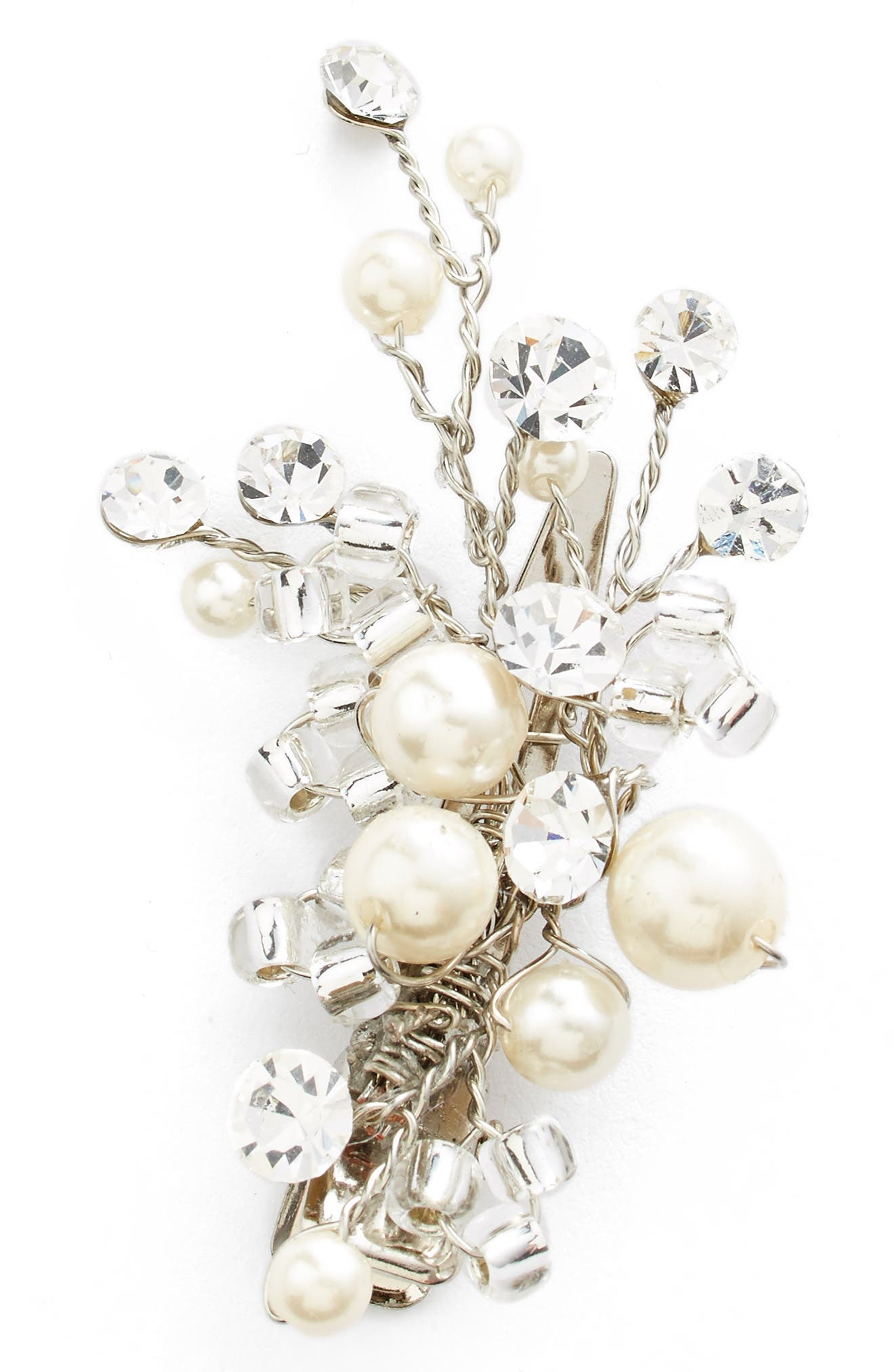 Glass Pearl & Crystal Hair Clip, Main, color, SILVER