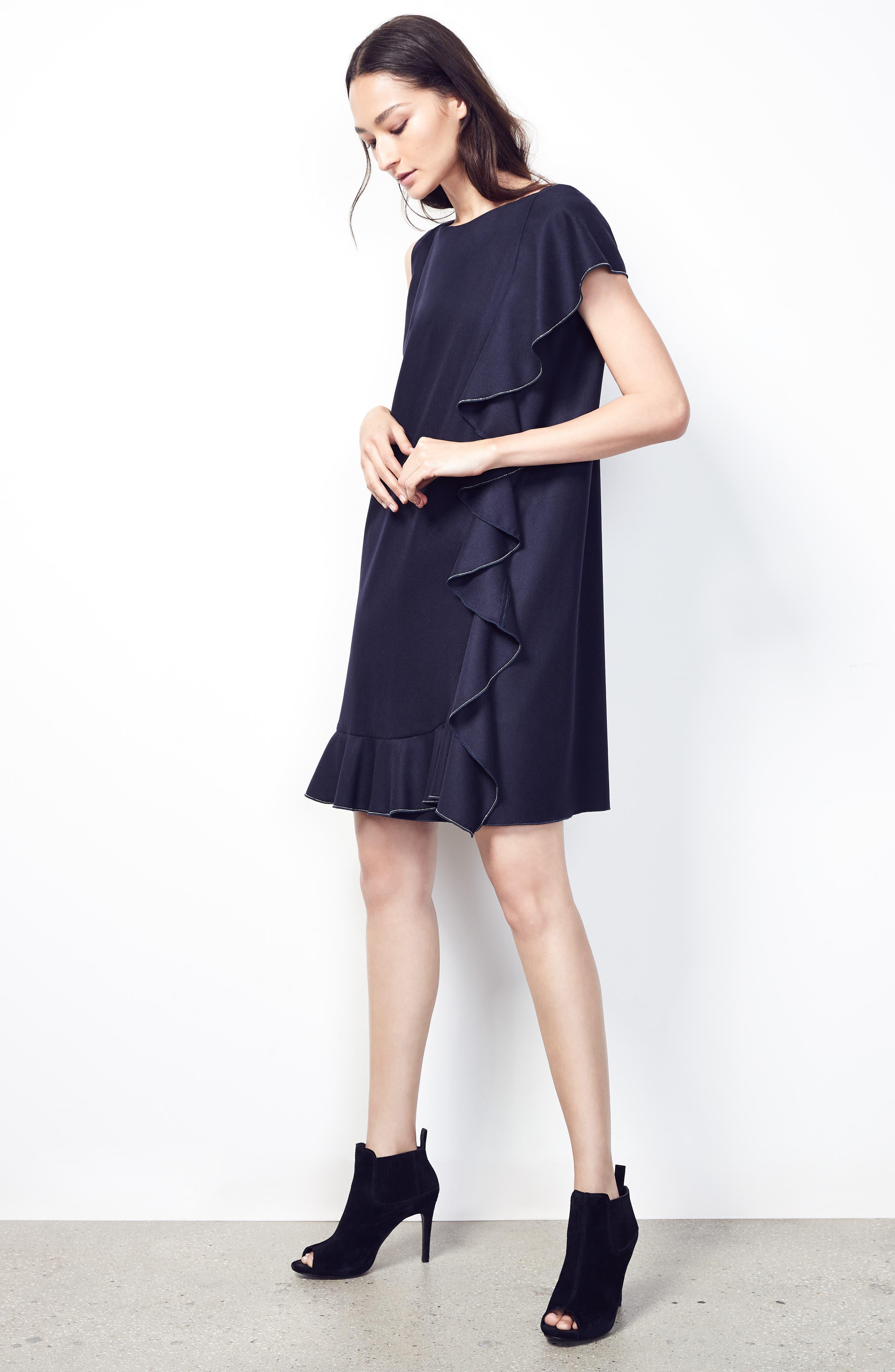 FABIANA FILIPPI,                             Stretch Wool & Cashmere Ruffle Dress,                             Alternate thumbnail 7, color,                             400