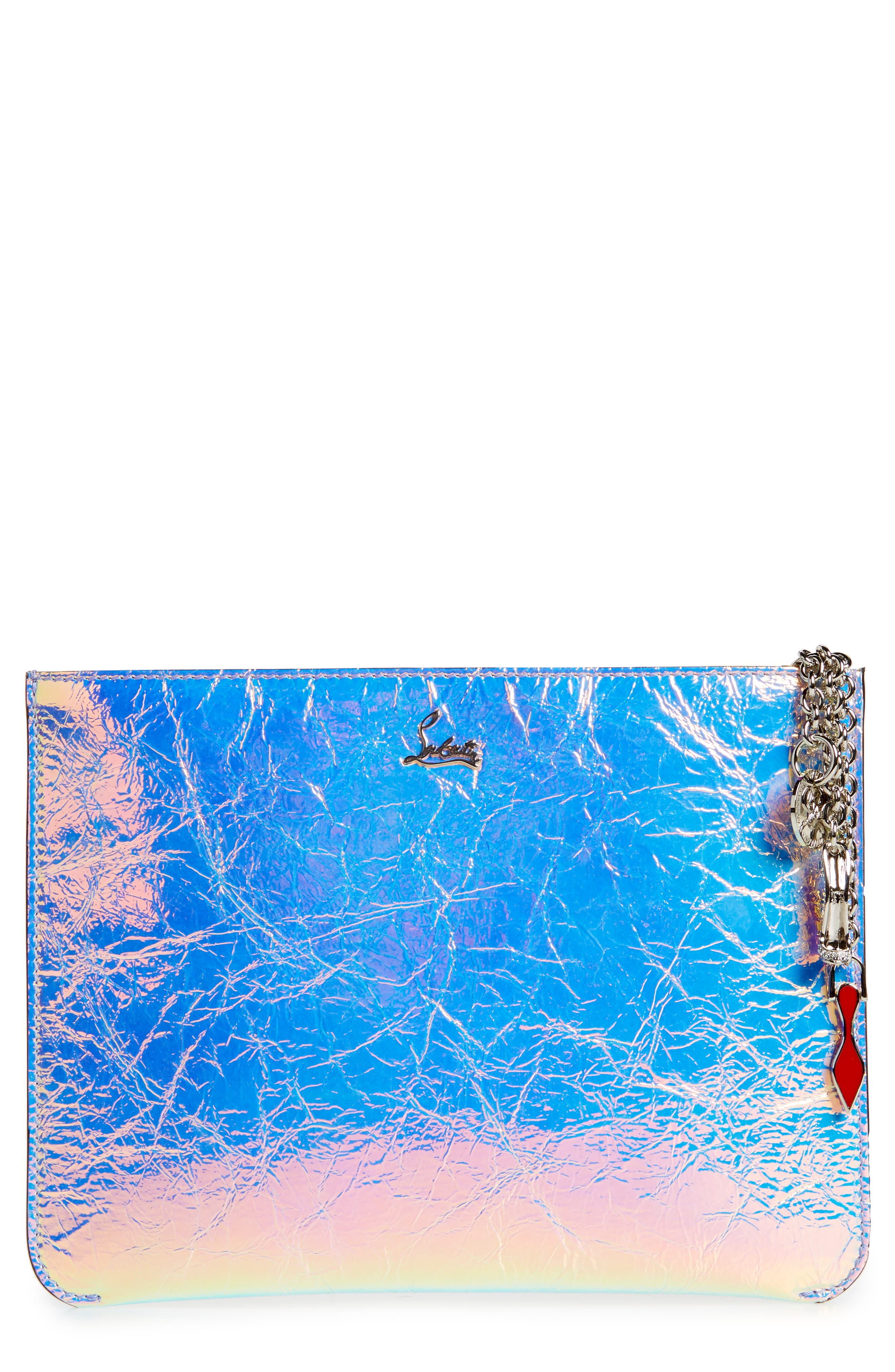 CHRISTIAN LOUBOUTIN Loubicute Crinkled Leather Pouch, Main, color, AB/ SILVER