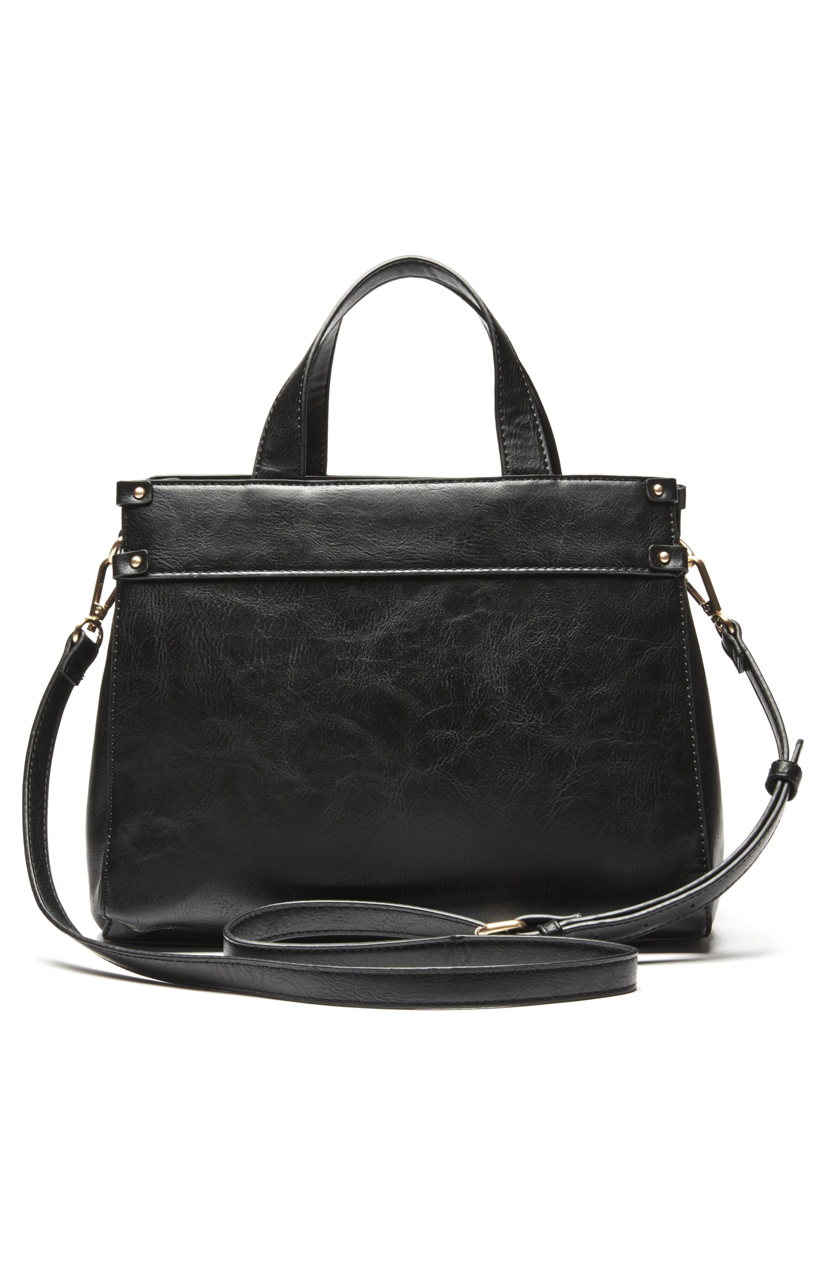 Zypa Faux Leather Satchel,                             Alternate thumbnail 2, color,                             BLACK