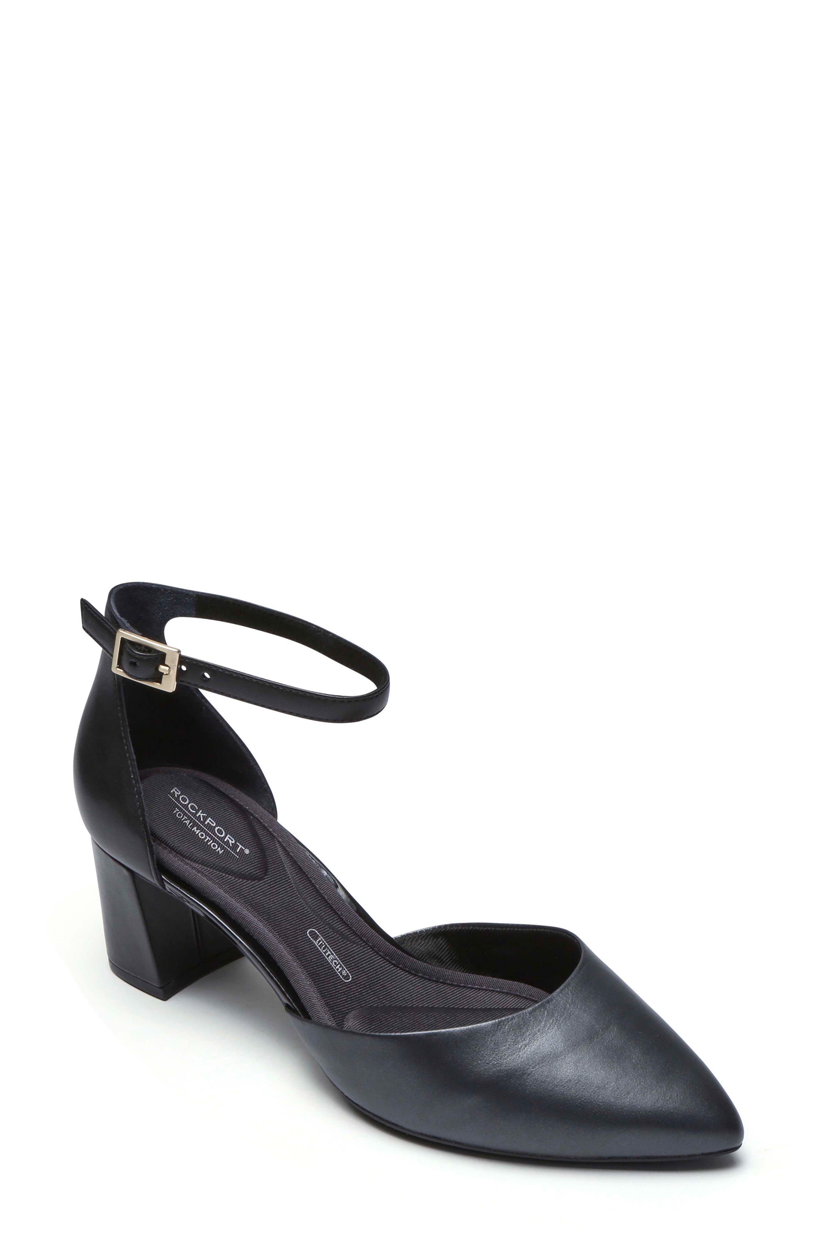 Total Motion<sup>®</sup> Salima Luxe Pump,                         Main,                         color, BLACK LEATHER