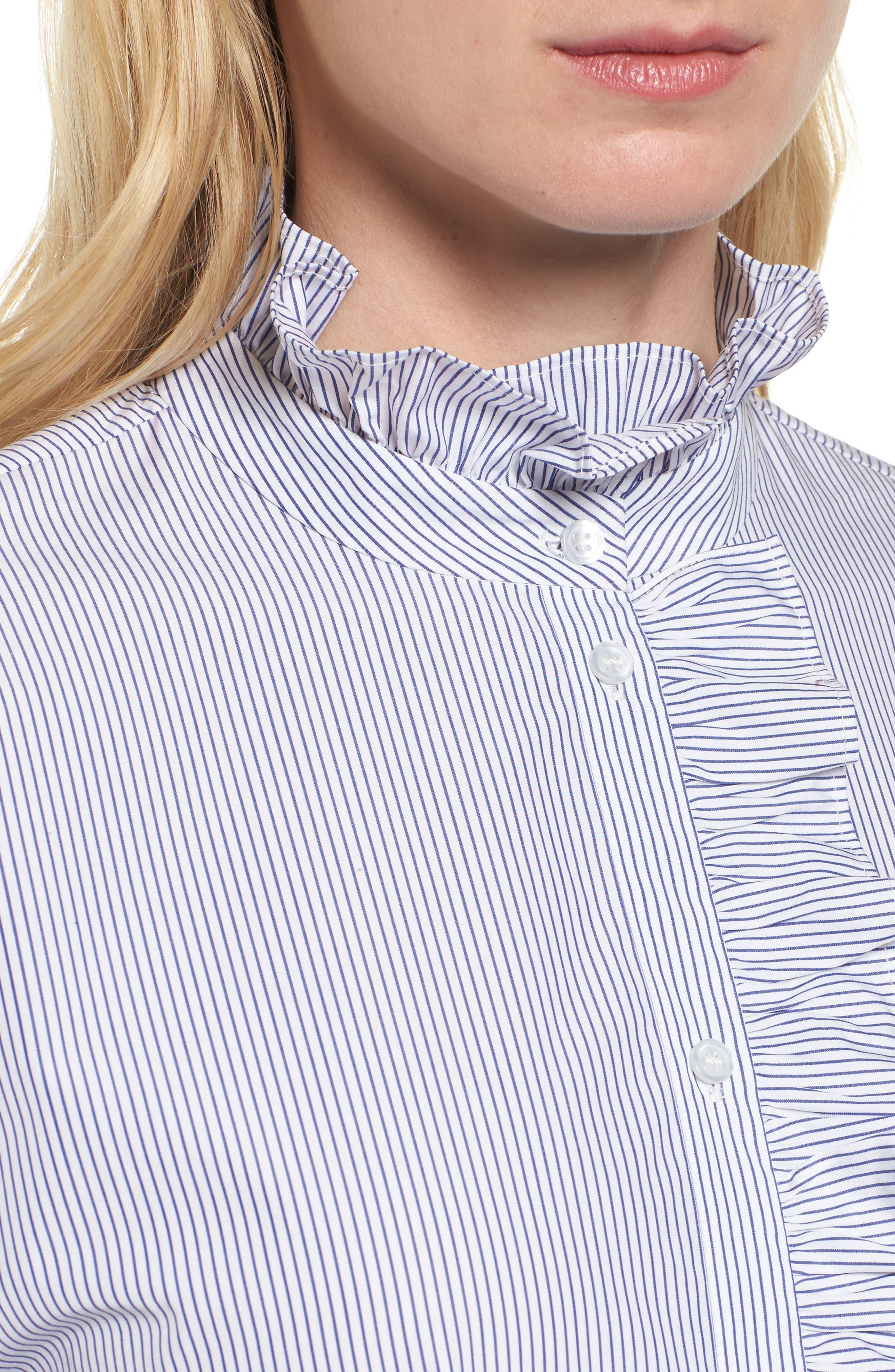 Ruffle Stripe Shirt,                             Alternate thumbnail 4, color,