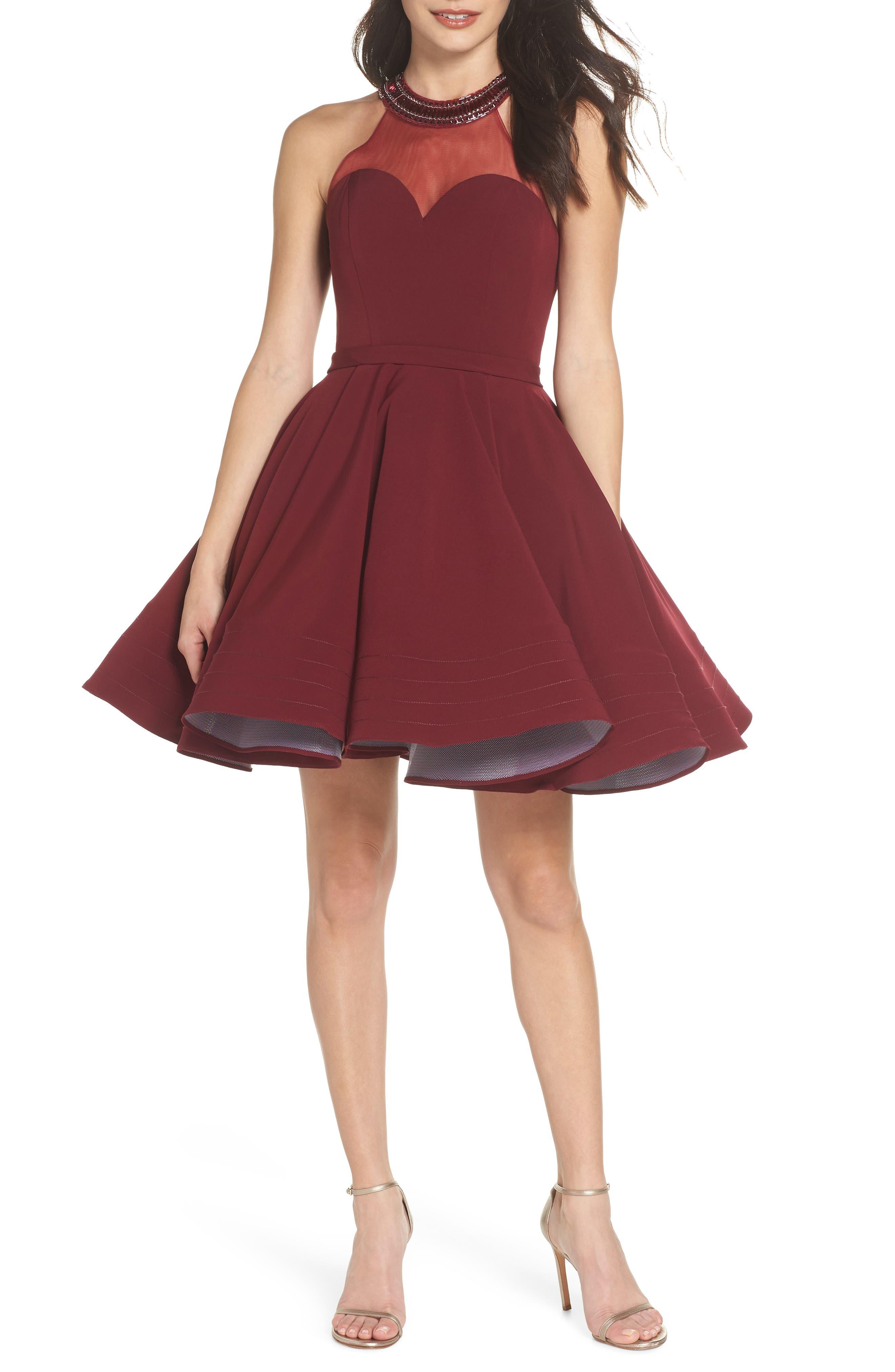 Beaded Illusion Neck Skater Dress,                         Main,                         color, BURGUNDY