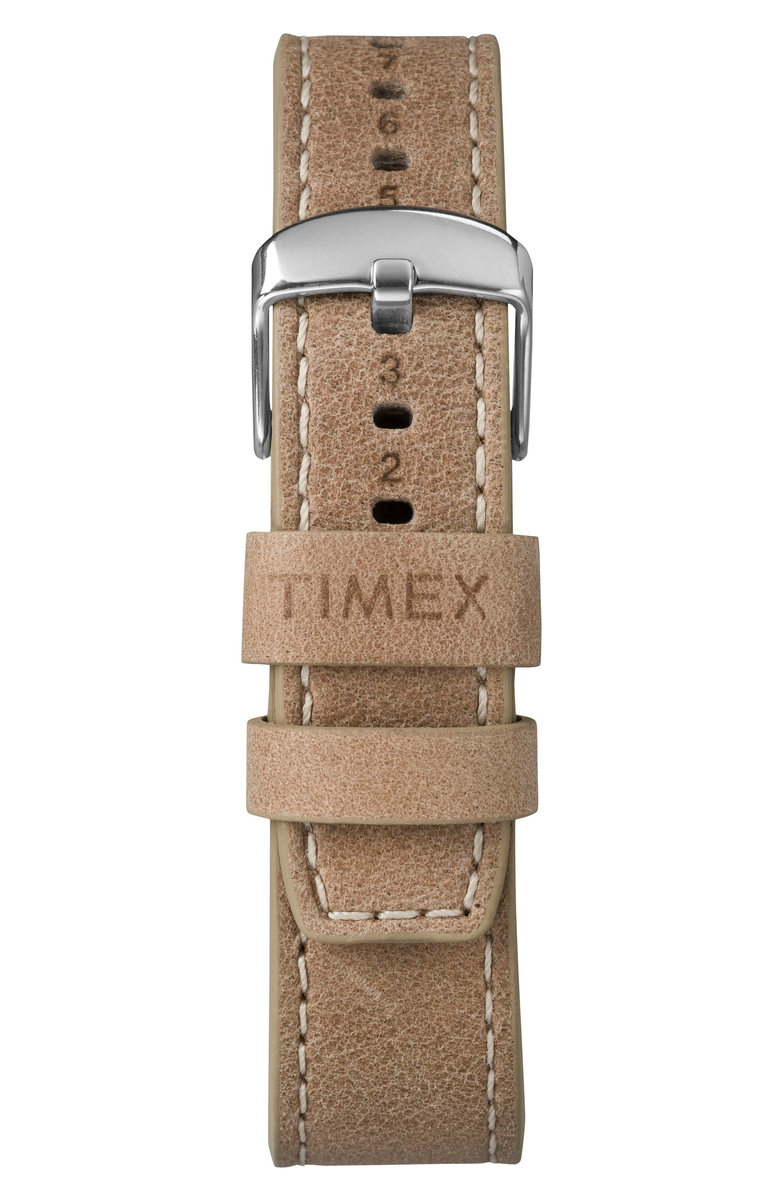 Waterbury Leather Strap Watch, 40mm,                             Alternate thumbnail 3, color,                             TAN/ BEIGE/ SILVER