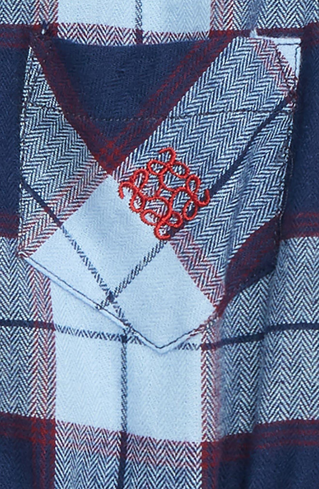 Shirtzie Flannel Bodysuit & Pants Set,                             Alternate thumbnail 2, color,                             BLUE
