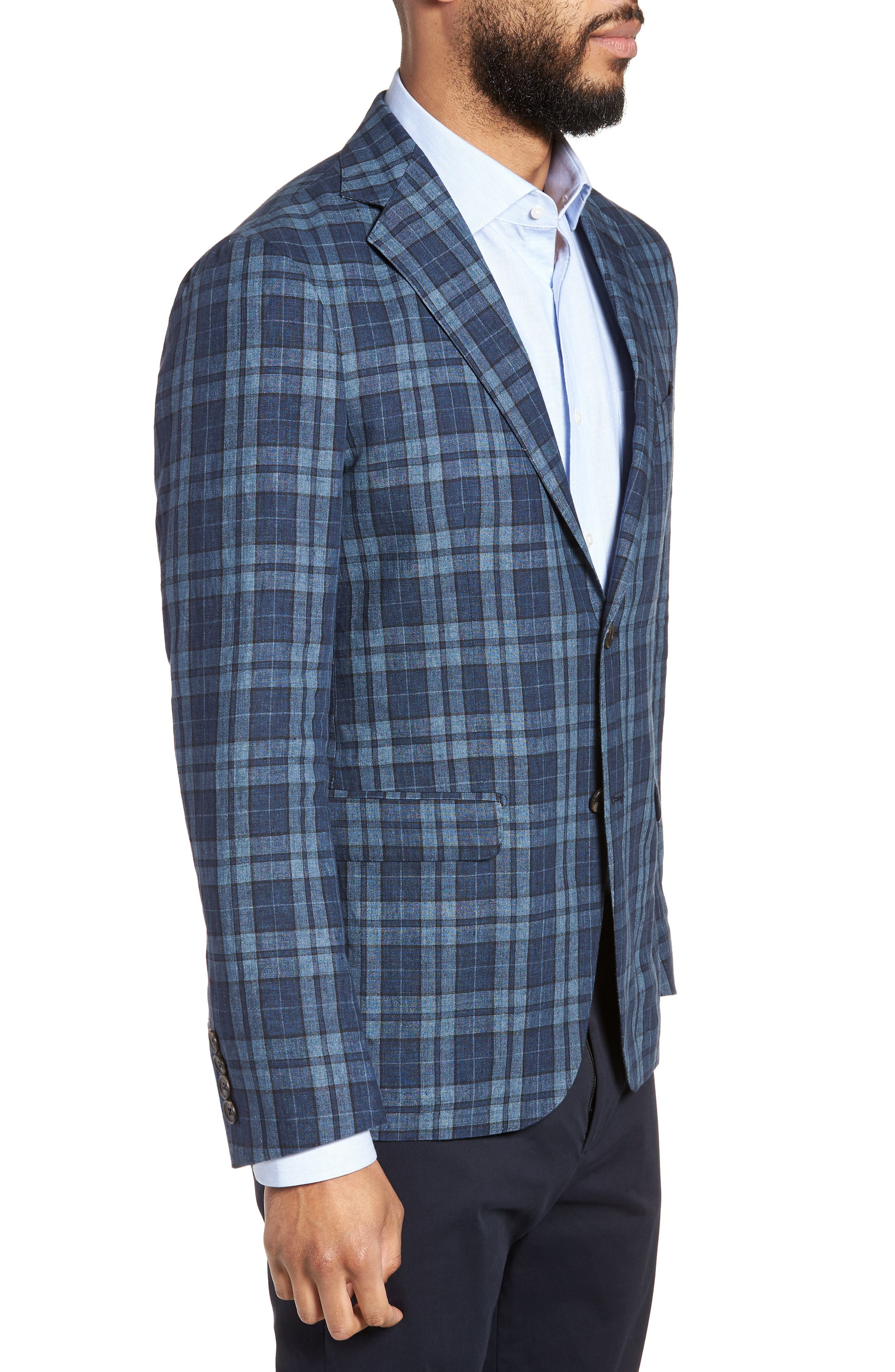 Vanquish Trim Fit Plaid Linen Sport Coat,                             Alternate thumbnail 3, color,
