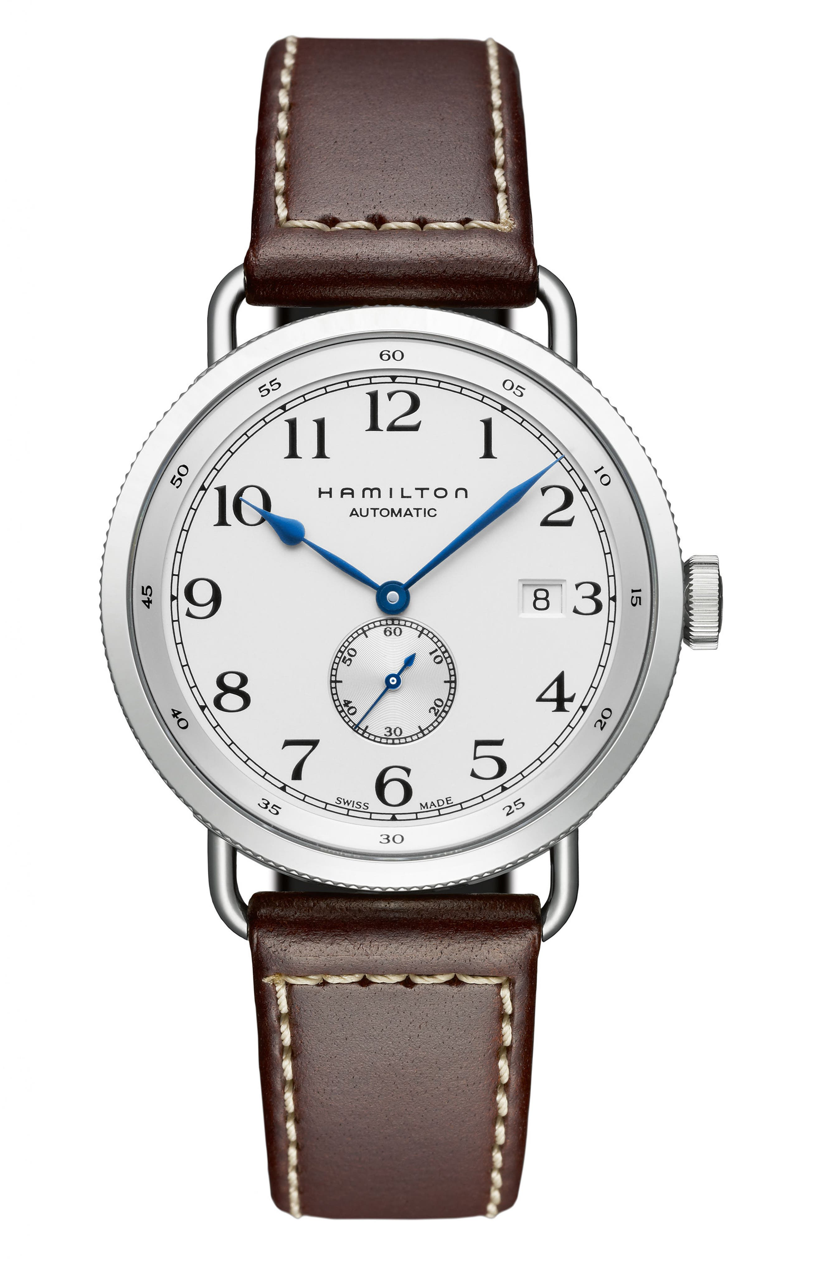 Khaki Navy Pioneer Leather Strap Watch, 40mm,                         Main,                         color, BROWN/ WHITE/ SILVER