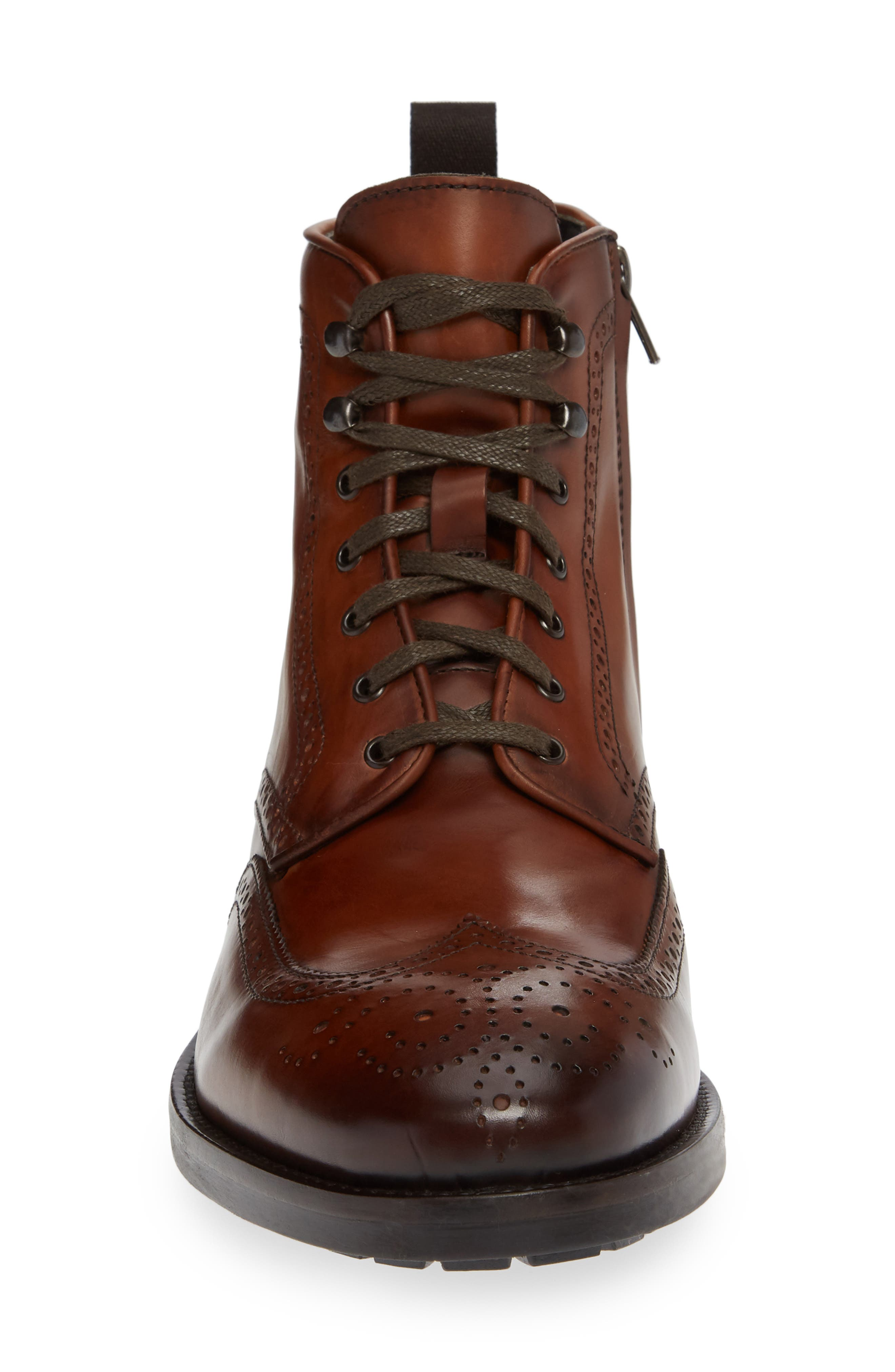 Auckland Wingtip Boot,                             Alternate thumbnail 4, color,                             BROWN LEATHER