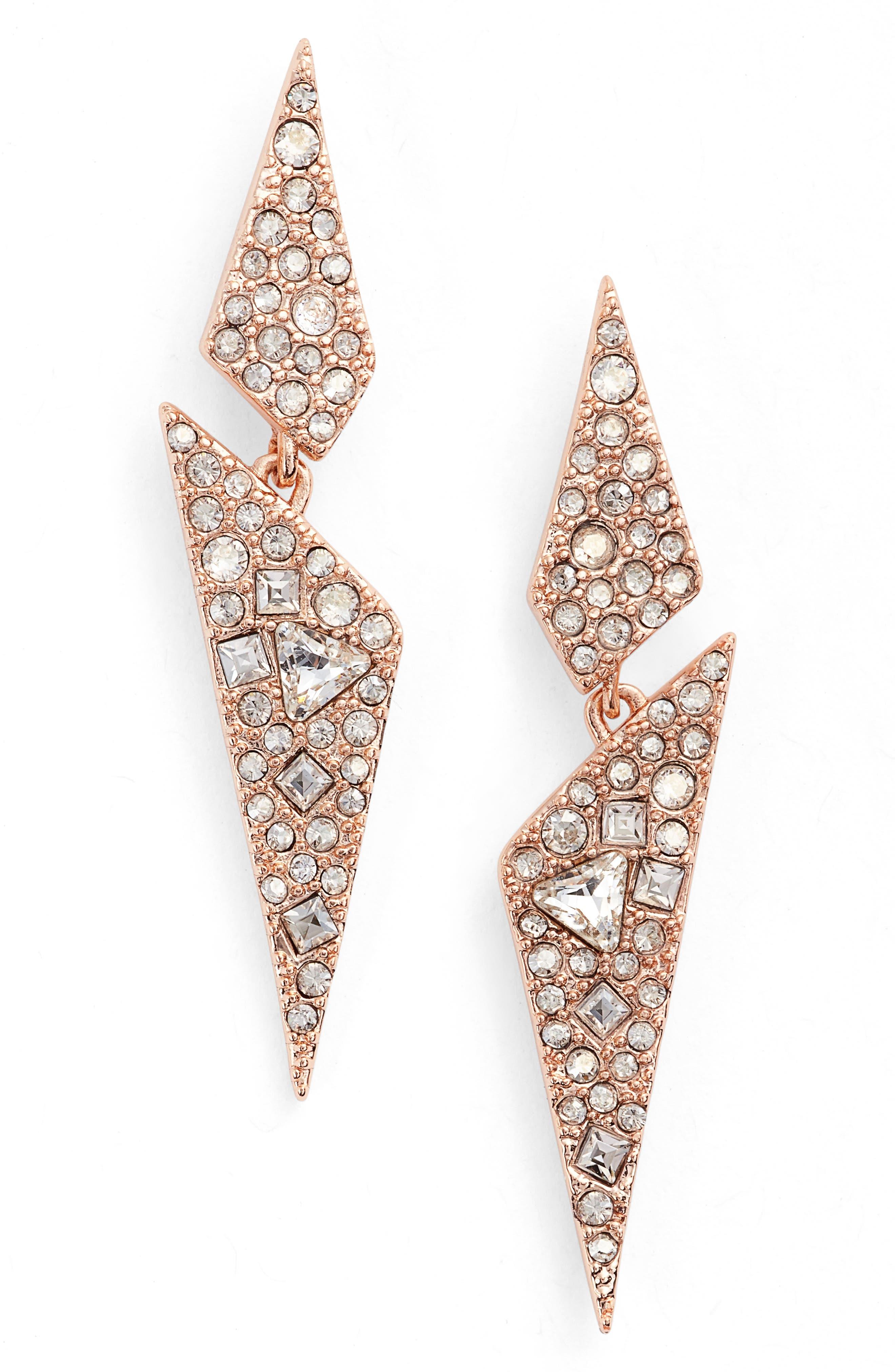 Crystal Encrusted Dangling Drop Earrings,                             Main thumbnail 1, color,                             ROSE GOLD