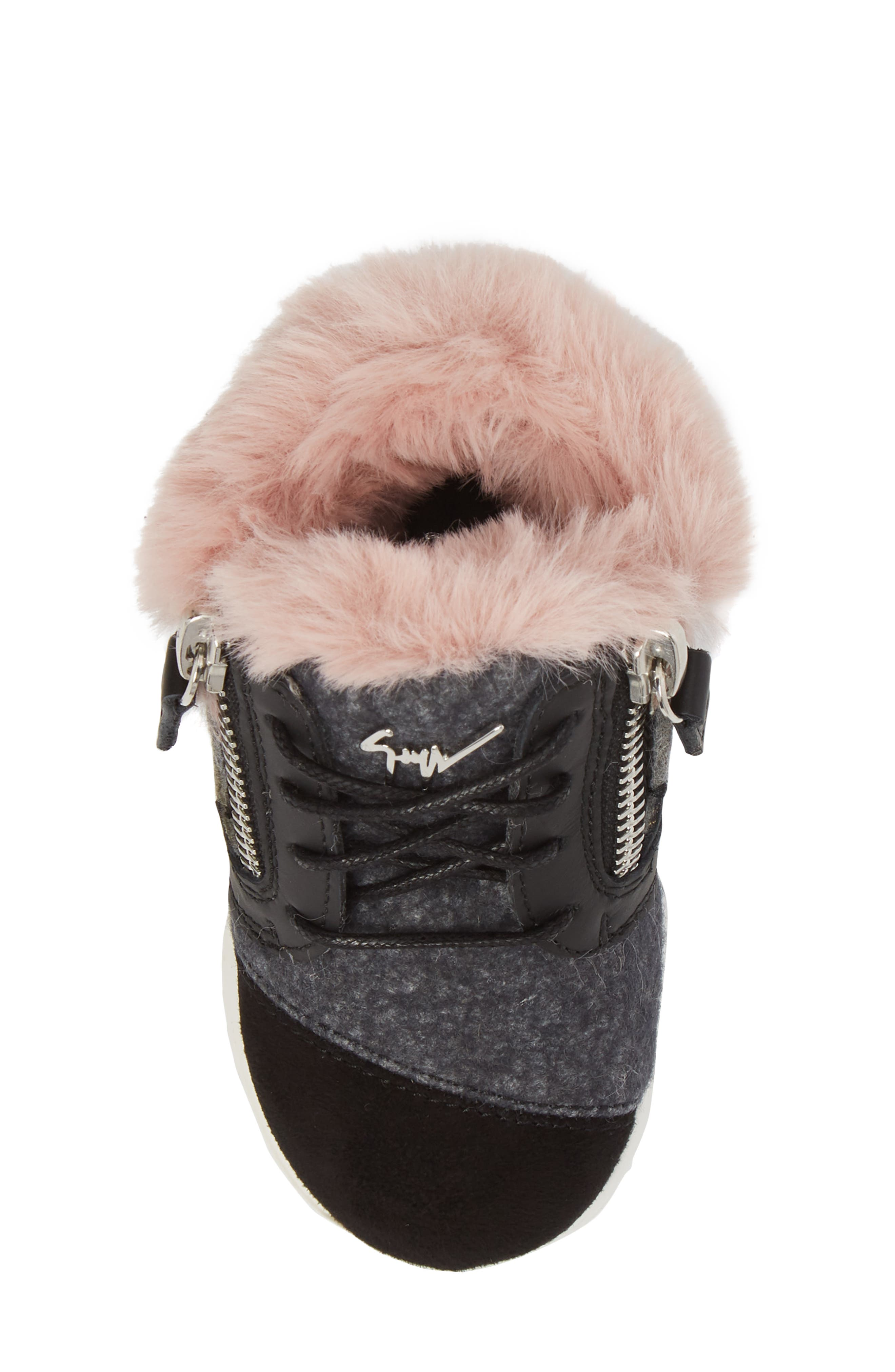 Logobal Mono Gomma Sneaker,                             Alternate thumbnail 5, color,                             BLACK W/ PINK FUR
