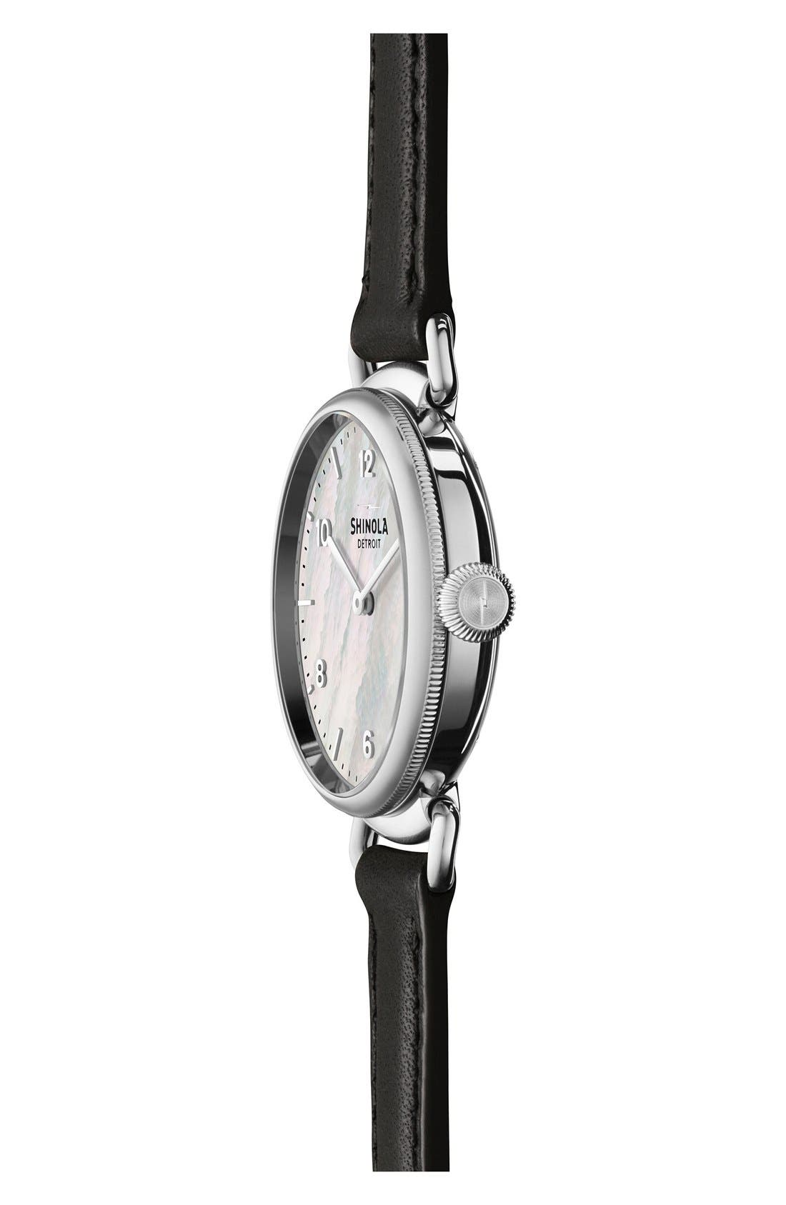 Canfield Leather Strap Watch, 32mm,                             Alternate thumbnail 3, color,                             BLACK/ WHITE MOTHER OF PEARL