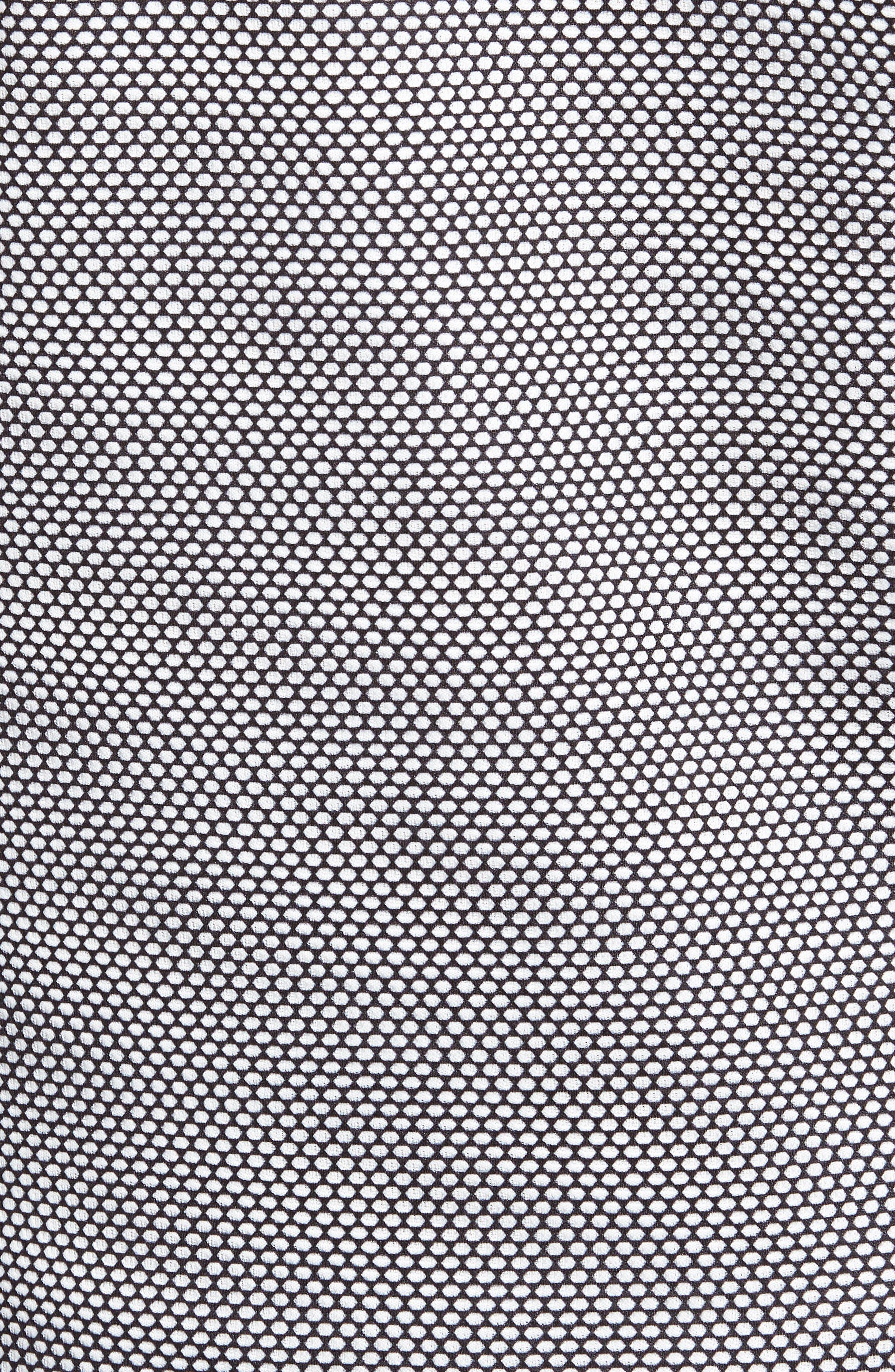 Mesh Performance Zip Polo,                             Alternate thumbnail 5, color,                             WHITE W/ BLUE PRINT