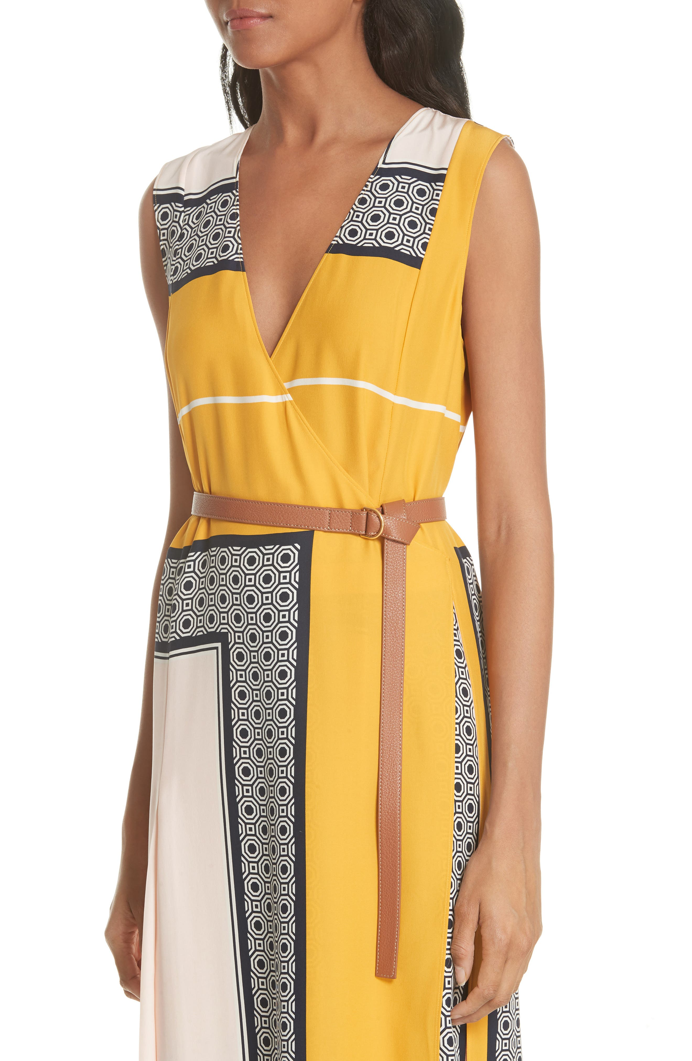 Clarice Belted Silk Wrap Dress,                             Alternate thumbnail 4, color,                             658