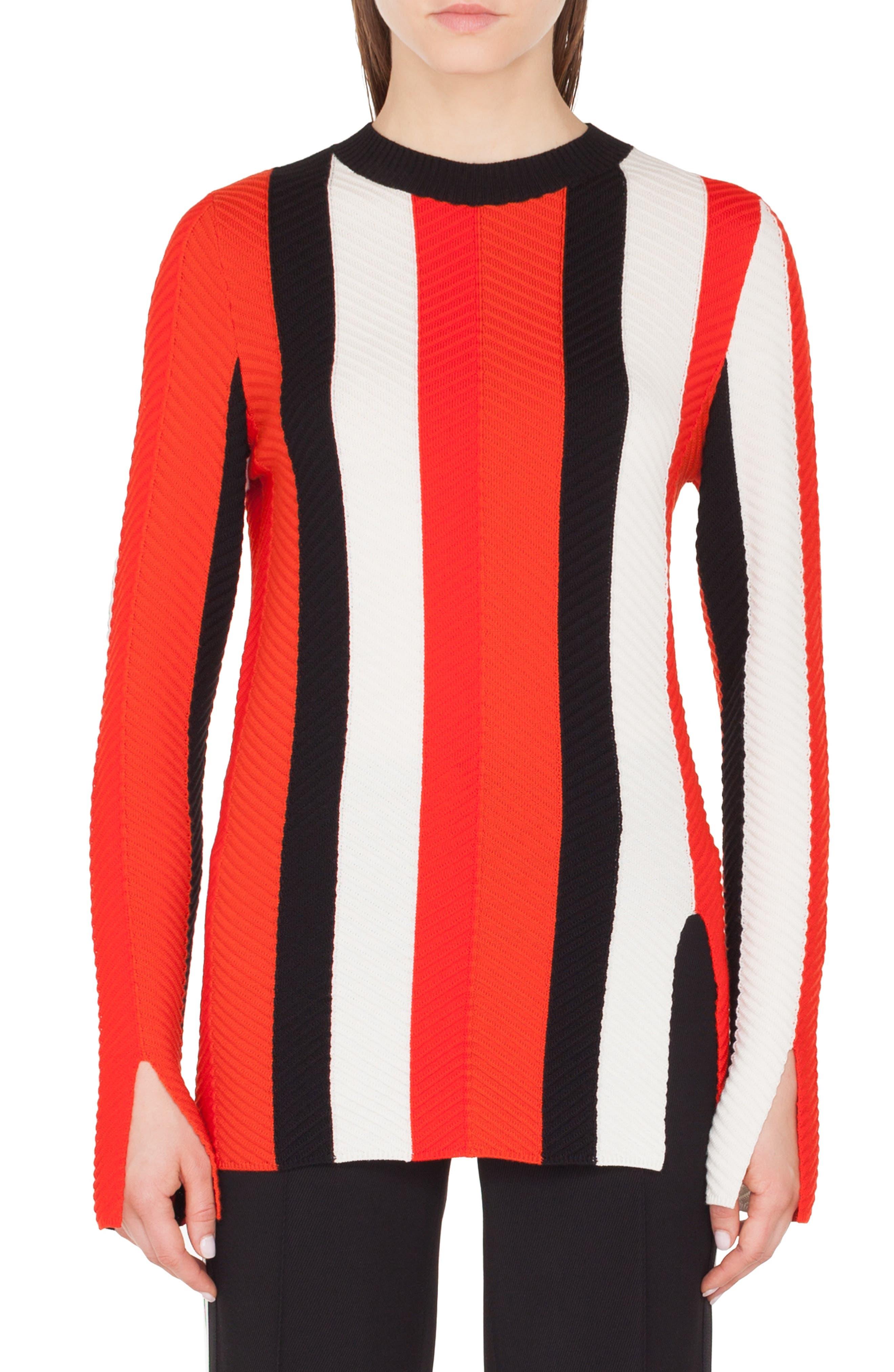 AKRIS PUNTO Herringbone Stripe Merino Pullover Sweater in Rosso Forte-Crema-Nero