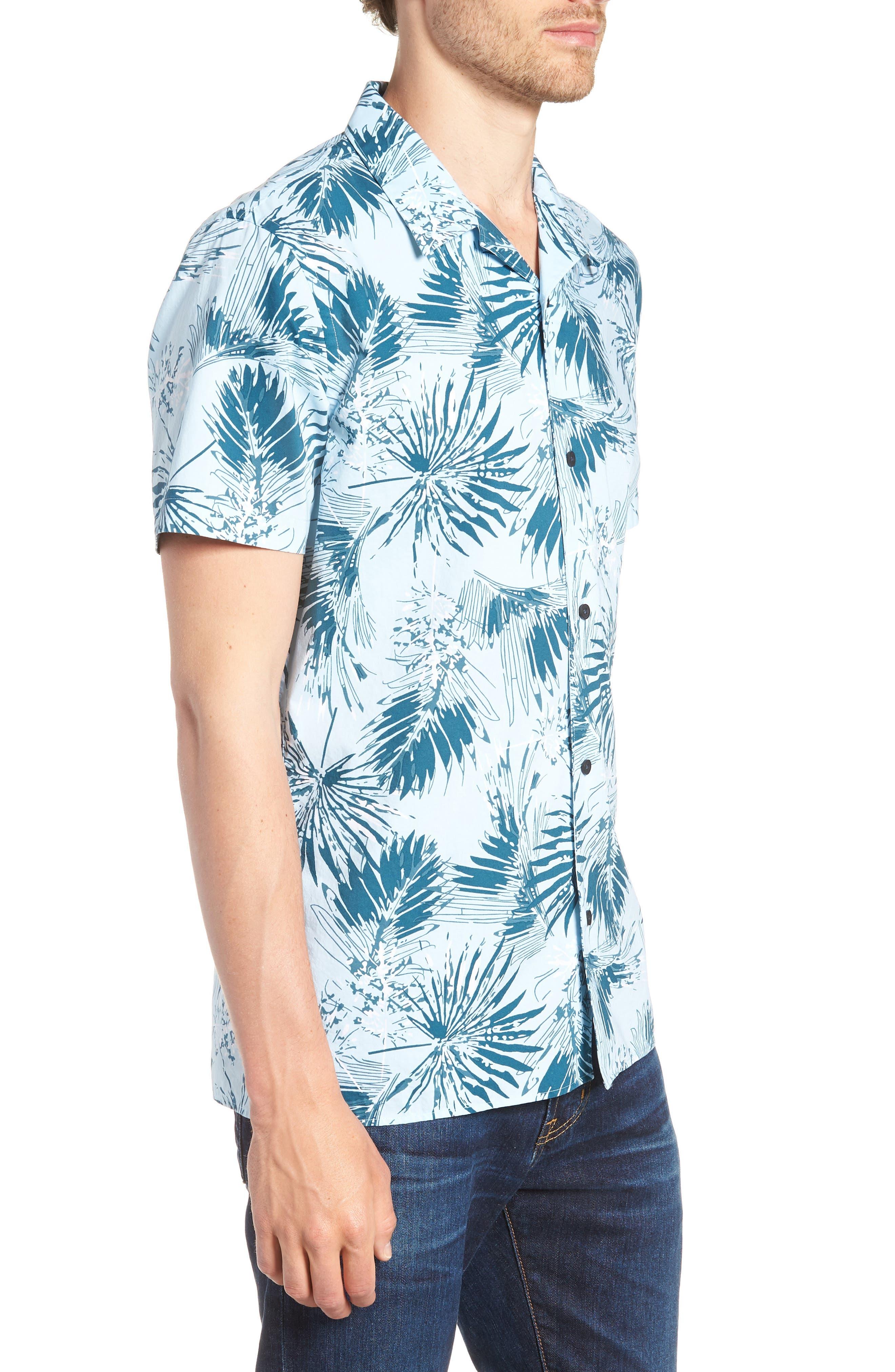 Trim Fit Palm Print Camp Shirt,                             Alternate thumbnail 3, color,                             BLUE CLOUD FAN PALMS