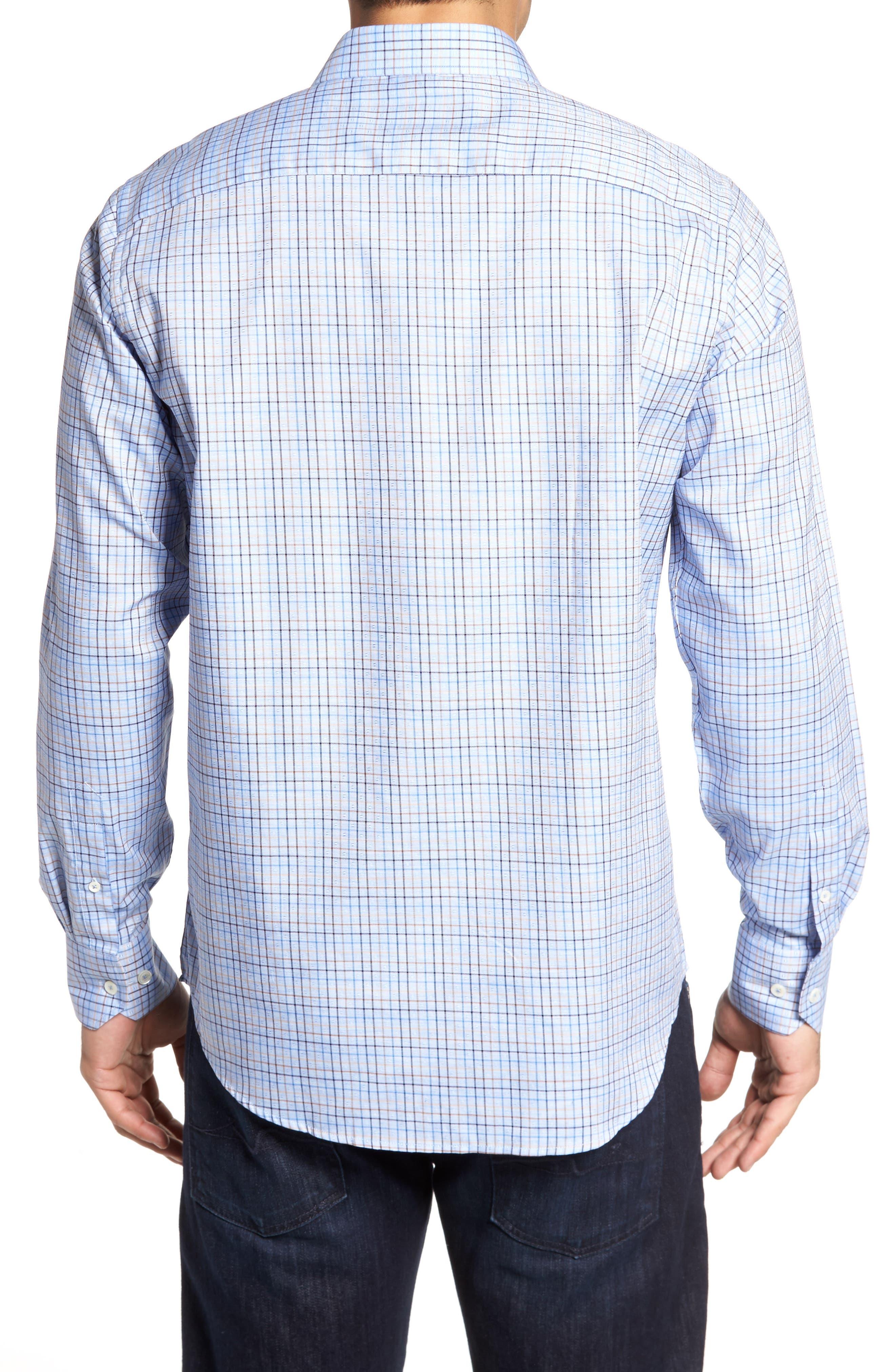 Classic Fit Dobby Grid Plaid Sport Shirt,                             Alternate thumbnail 2, color,
