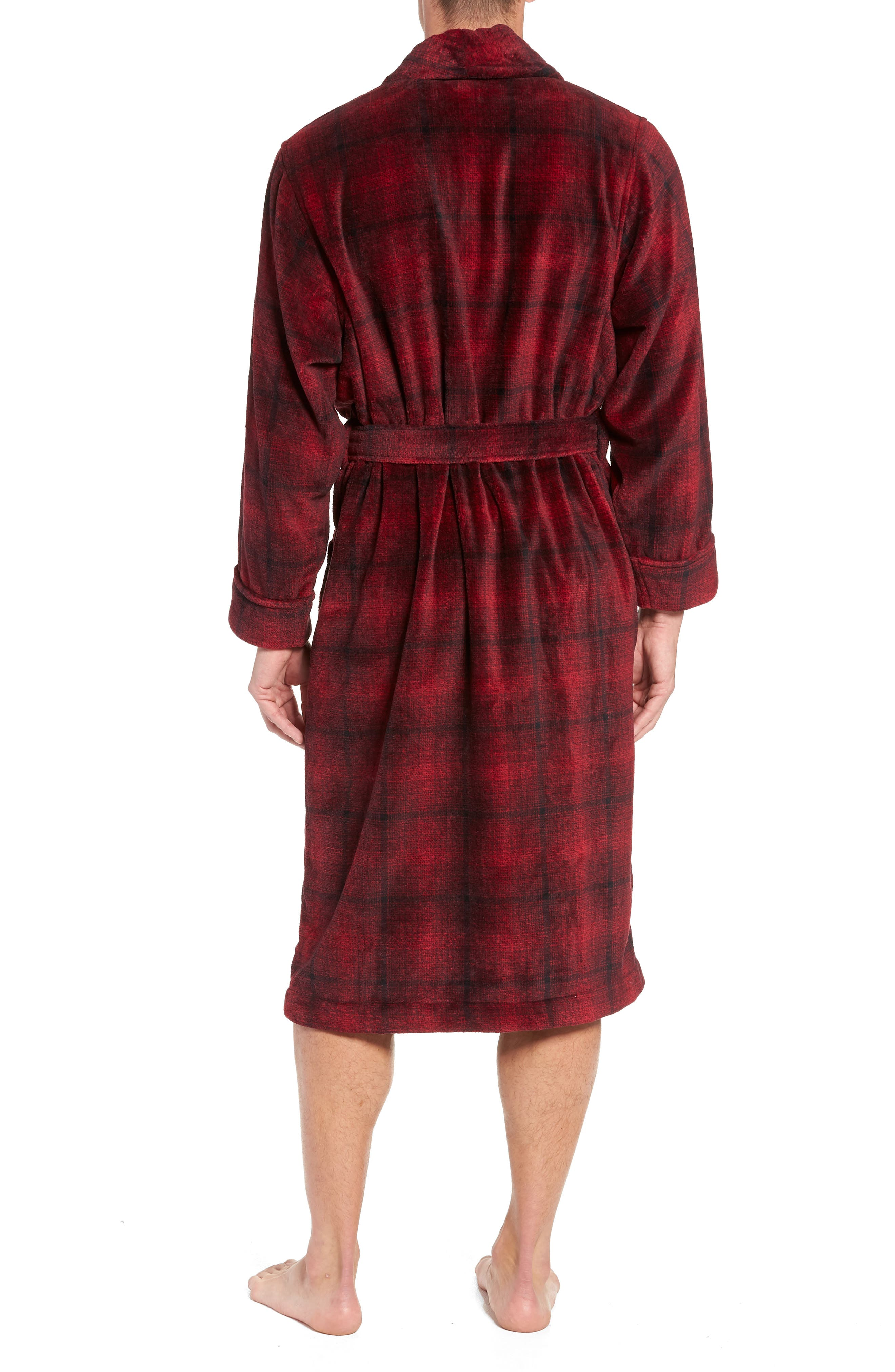 Ombré Plaid Fleece Robe,                             Alternate thumbnail 2, color,                             RED JESTER- BLACK OMBRE PLAID