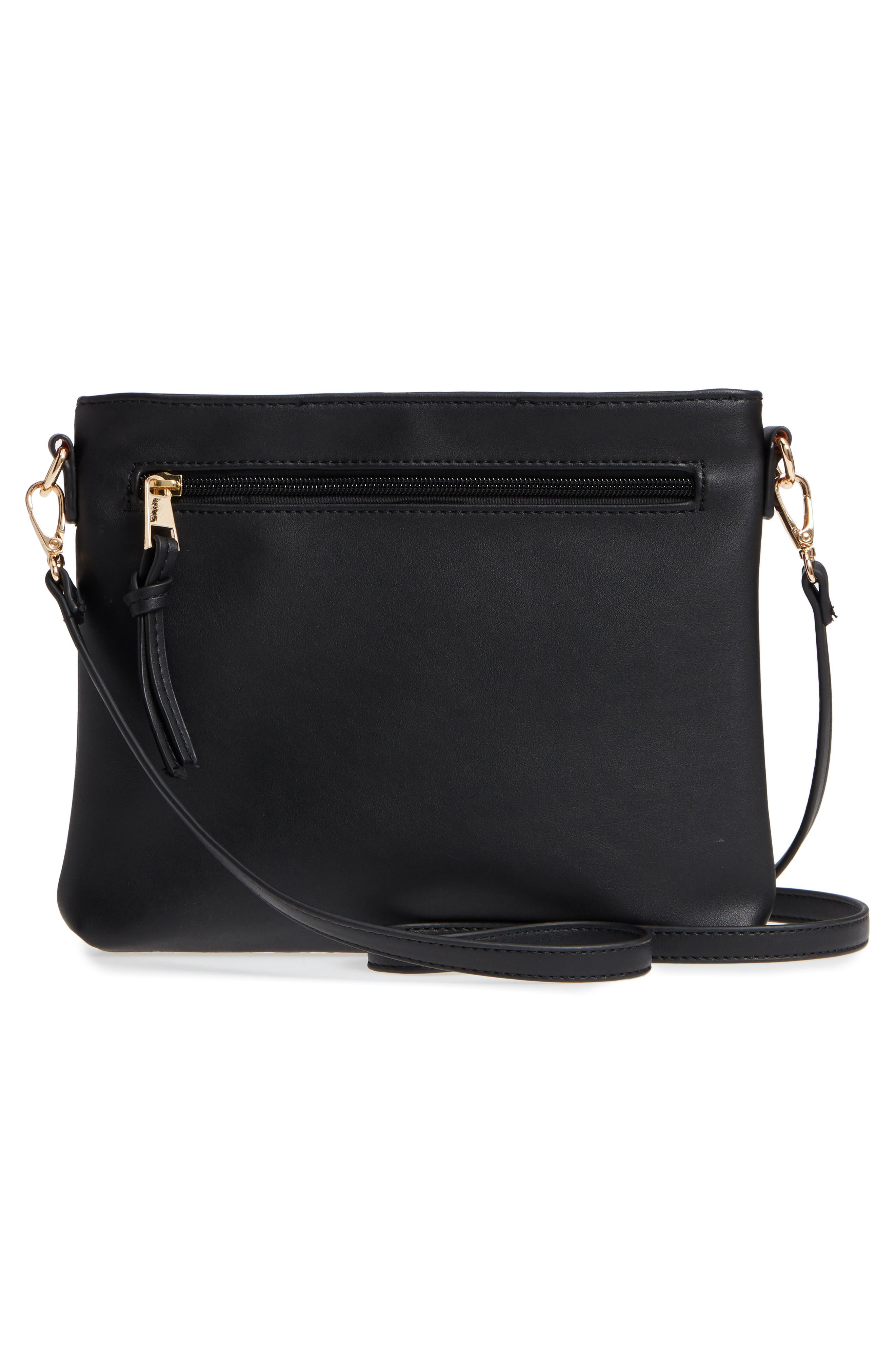 Flat Faux Leather Crossbody Bag,                             Alternate thumbnail 3, color,                             001