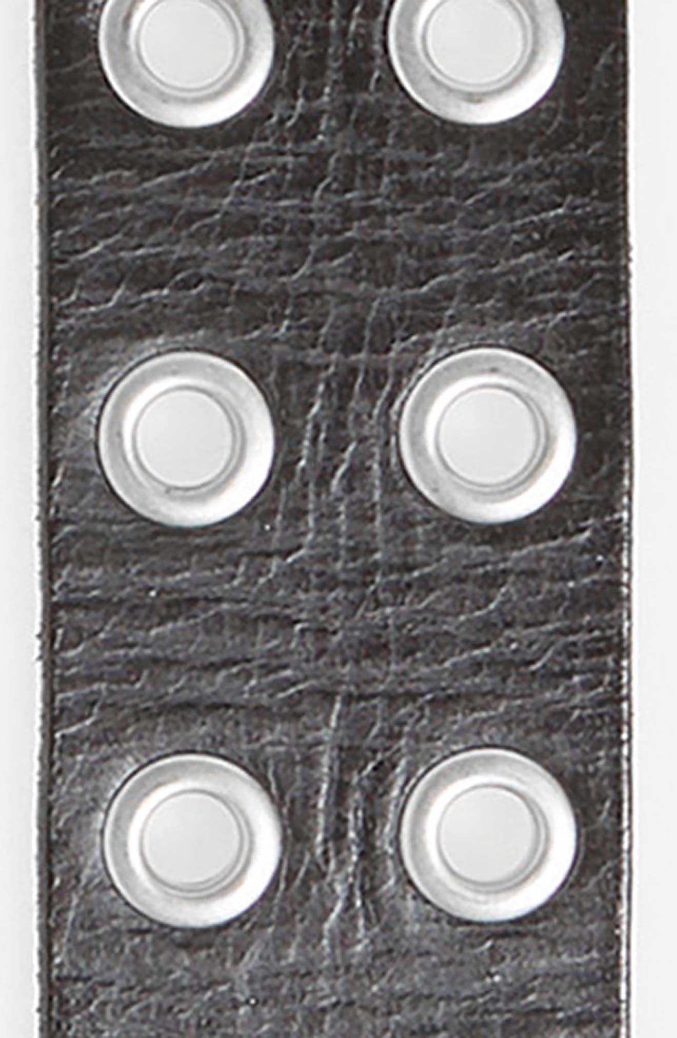 Double Prong Belt,                             Alternate thumbnail 3, color,                             BLACK/ DULL NICKEL