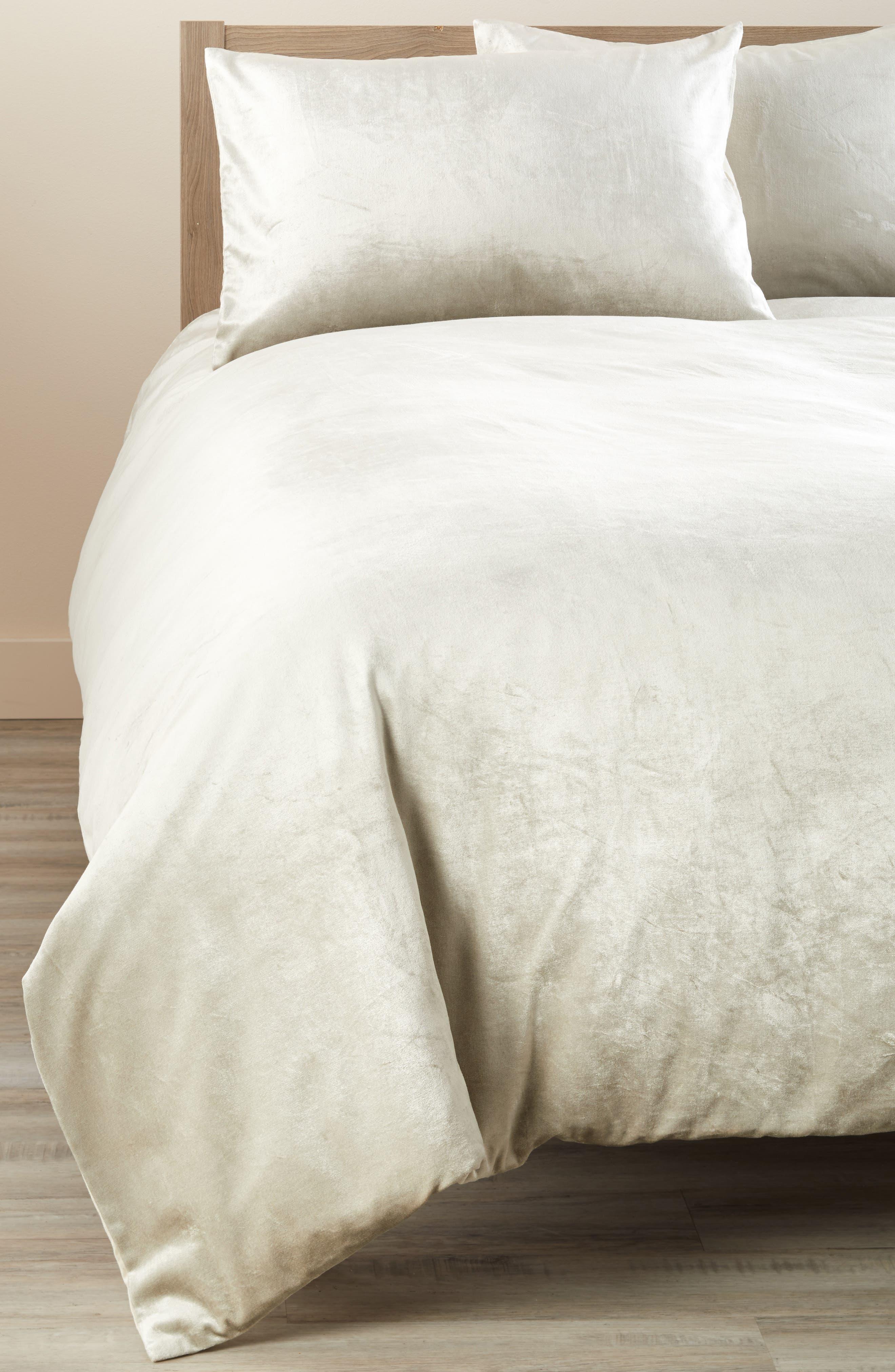 Shimmer Velvet Duvet Cover,                         Main,                         color, GREY OPAL