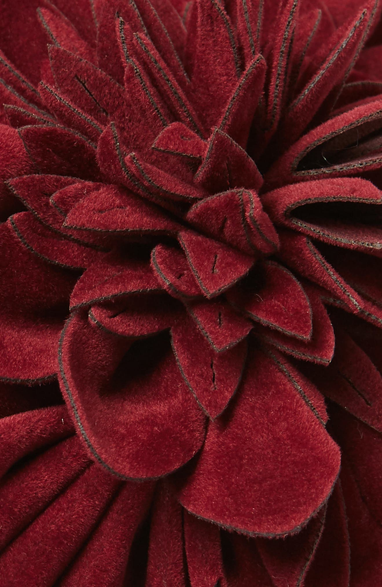 Faux Suede Flower Headband,                             Alternate thumbnail 2, color,                             MAROON