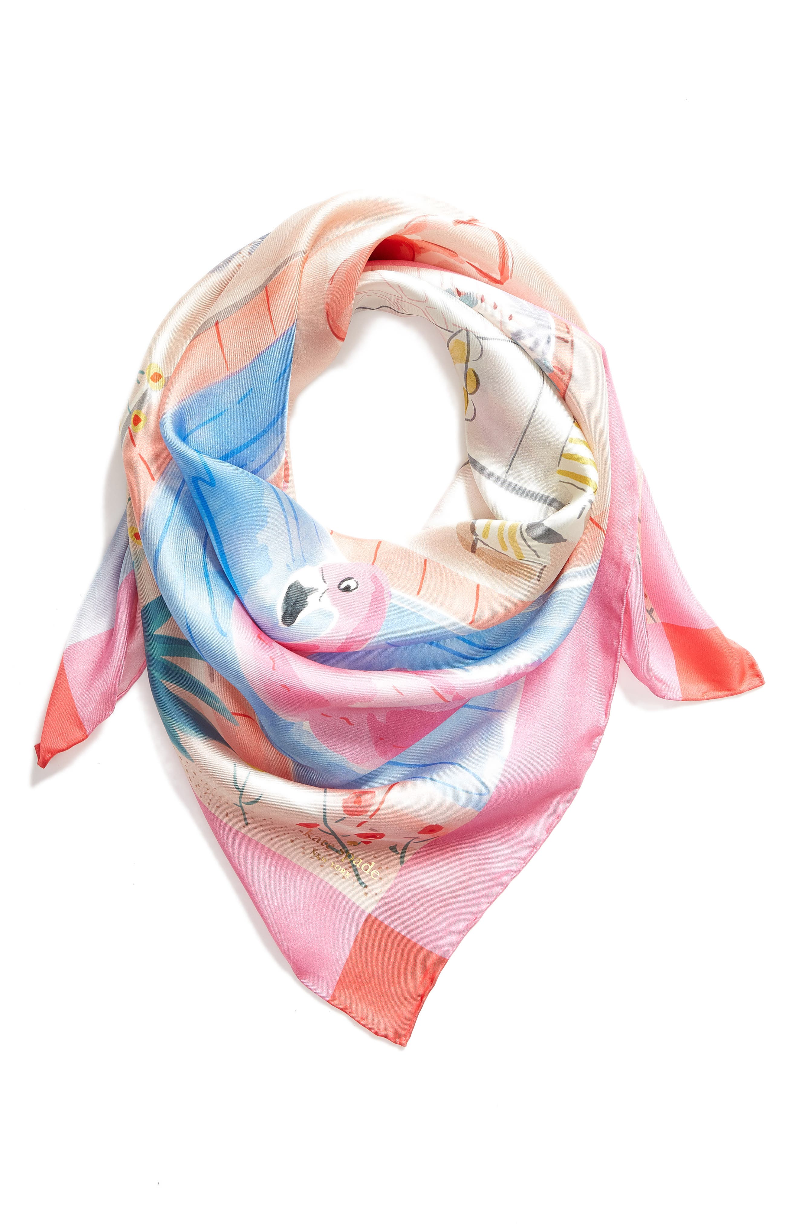 palm springs pool square silk scarf,                             Alternate thumbnail 2, color,                             SURF PINK