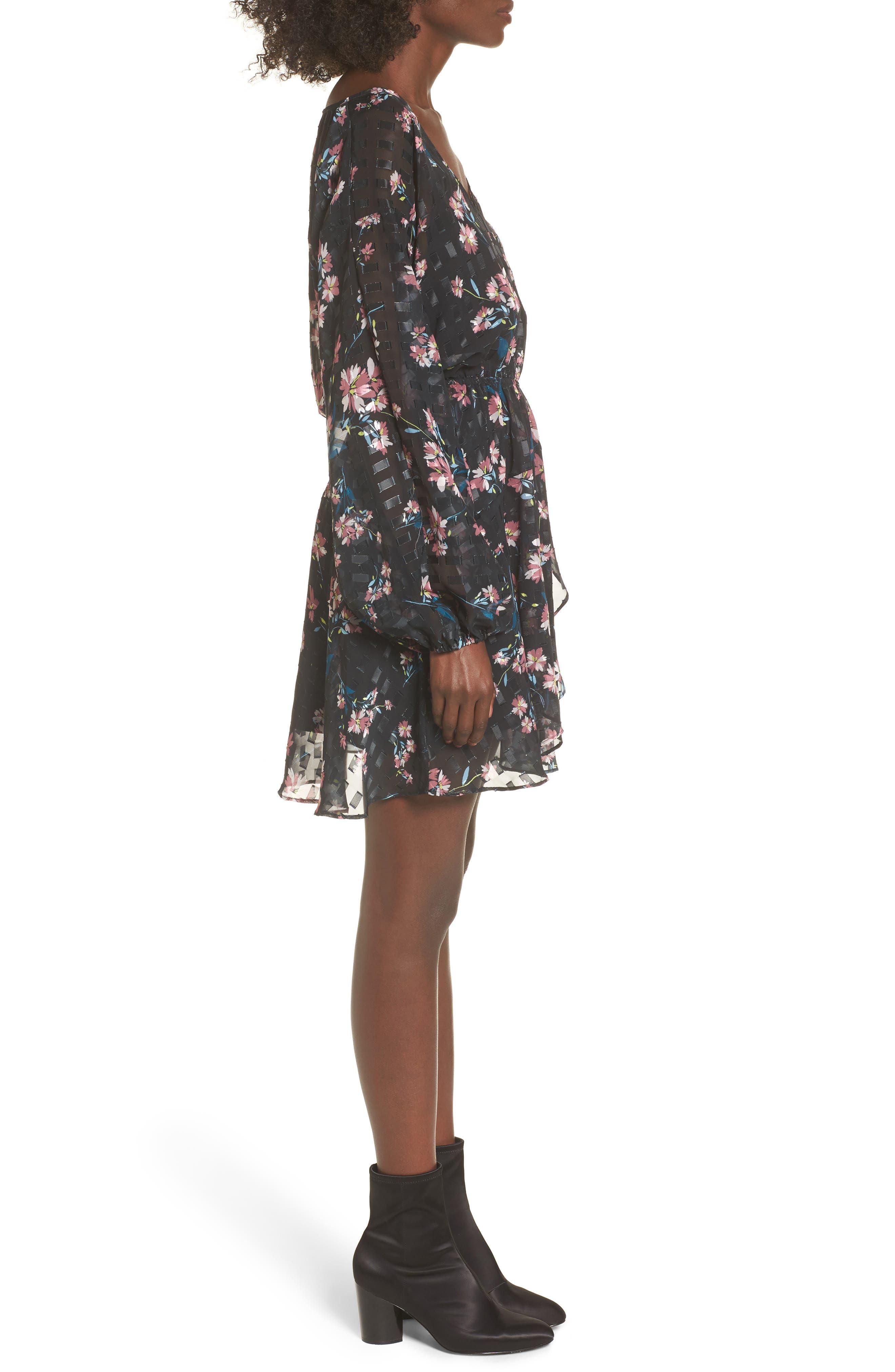 Alexis Floral Dress,                             Alternate thumbnail 3, color,                             002