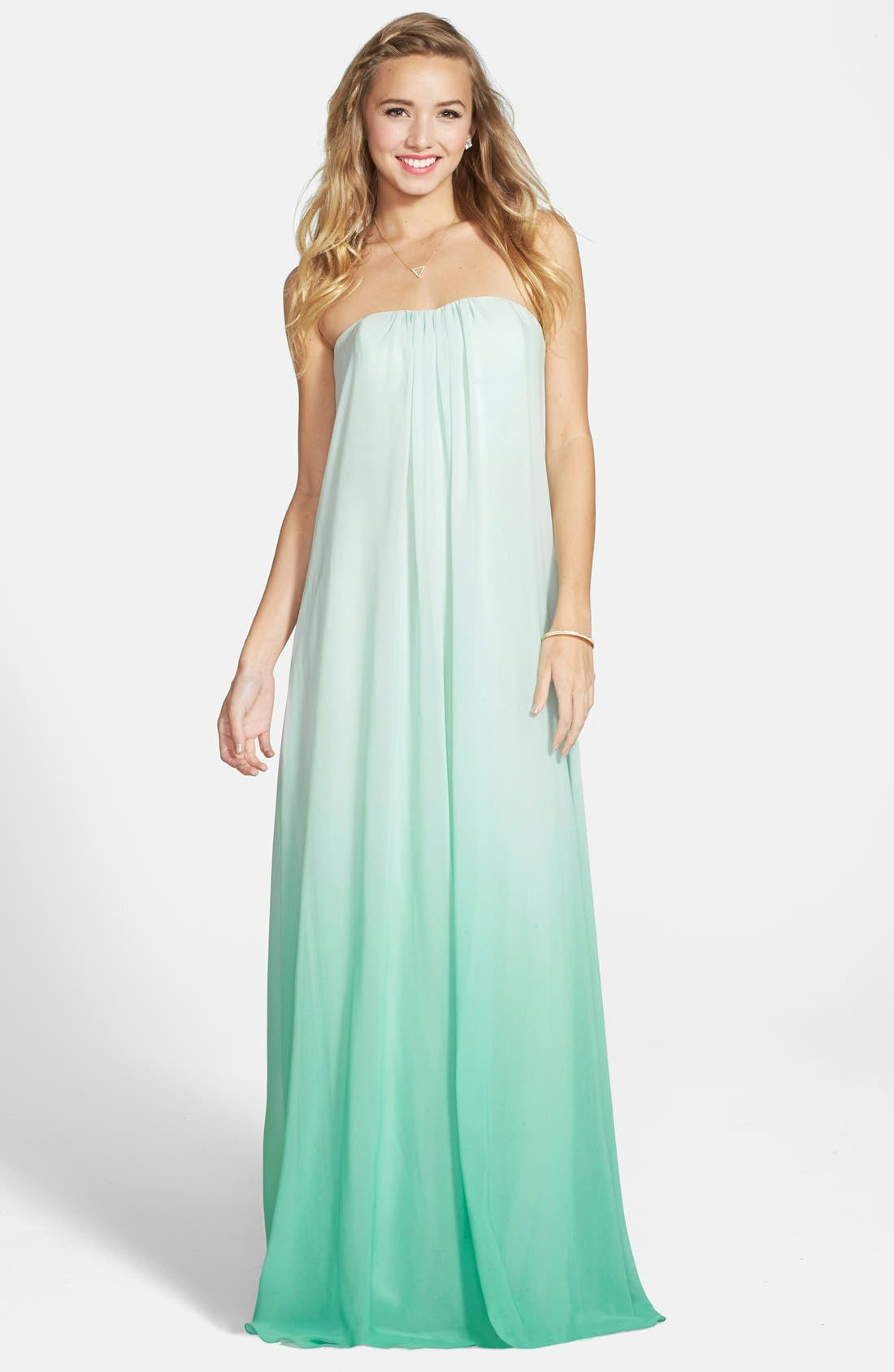 ERIN ERIN FETHERSTON,                             'Daria' Ombré Chiffon A-Line Gown,                             Main thumbnail 1, color,                             303