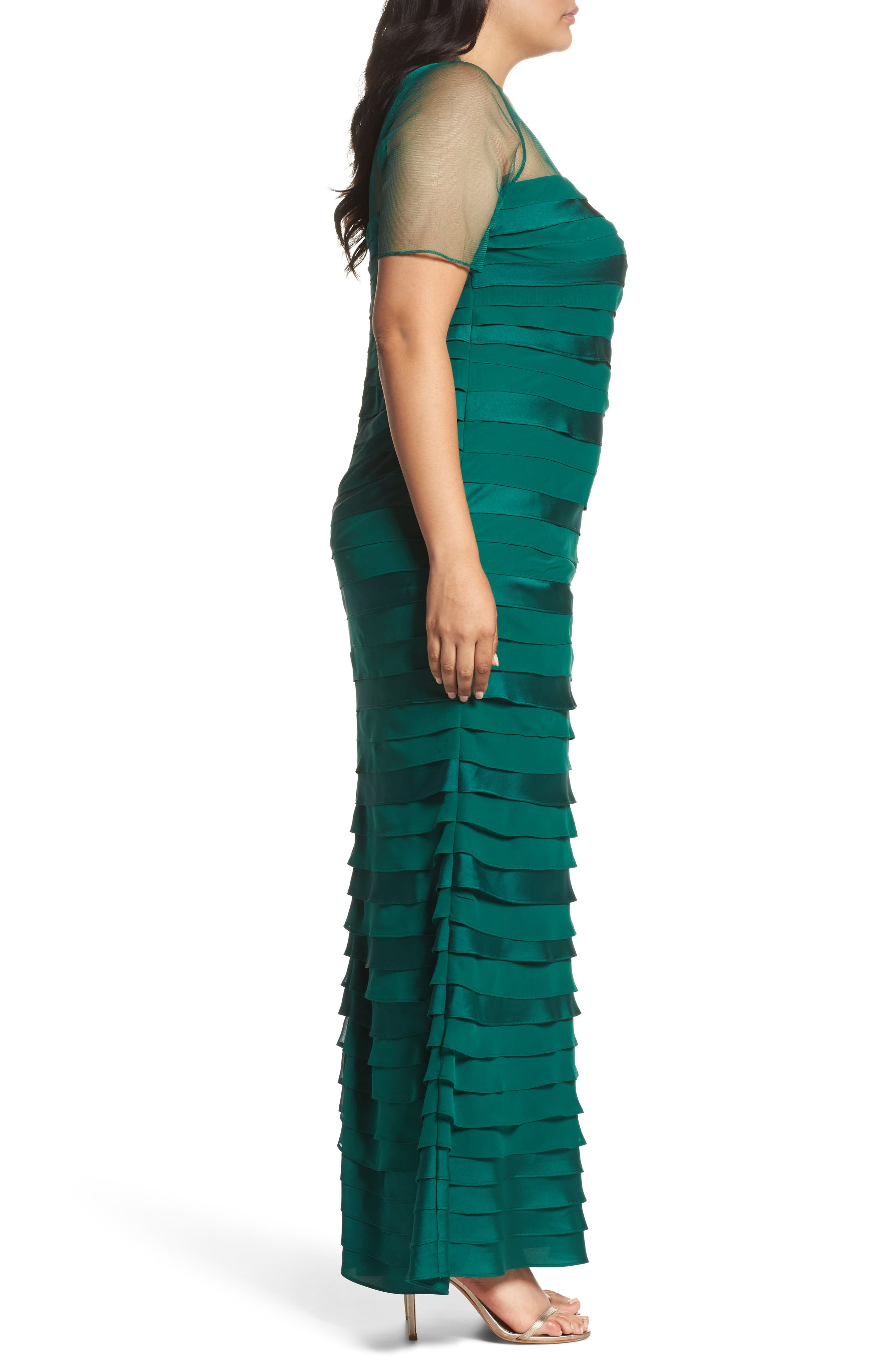 Illusion Neck Shutter Pleat Gown,                             Alternate thumbnail 2, color,                             303