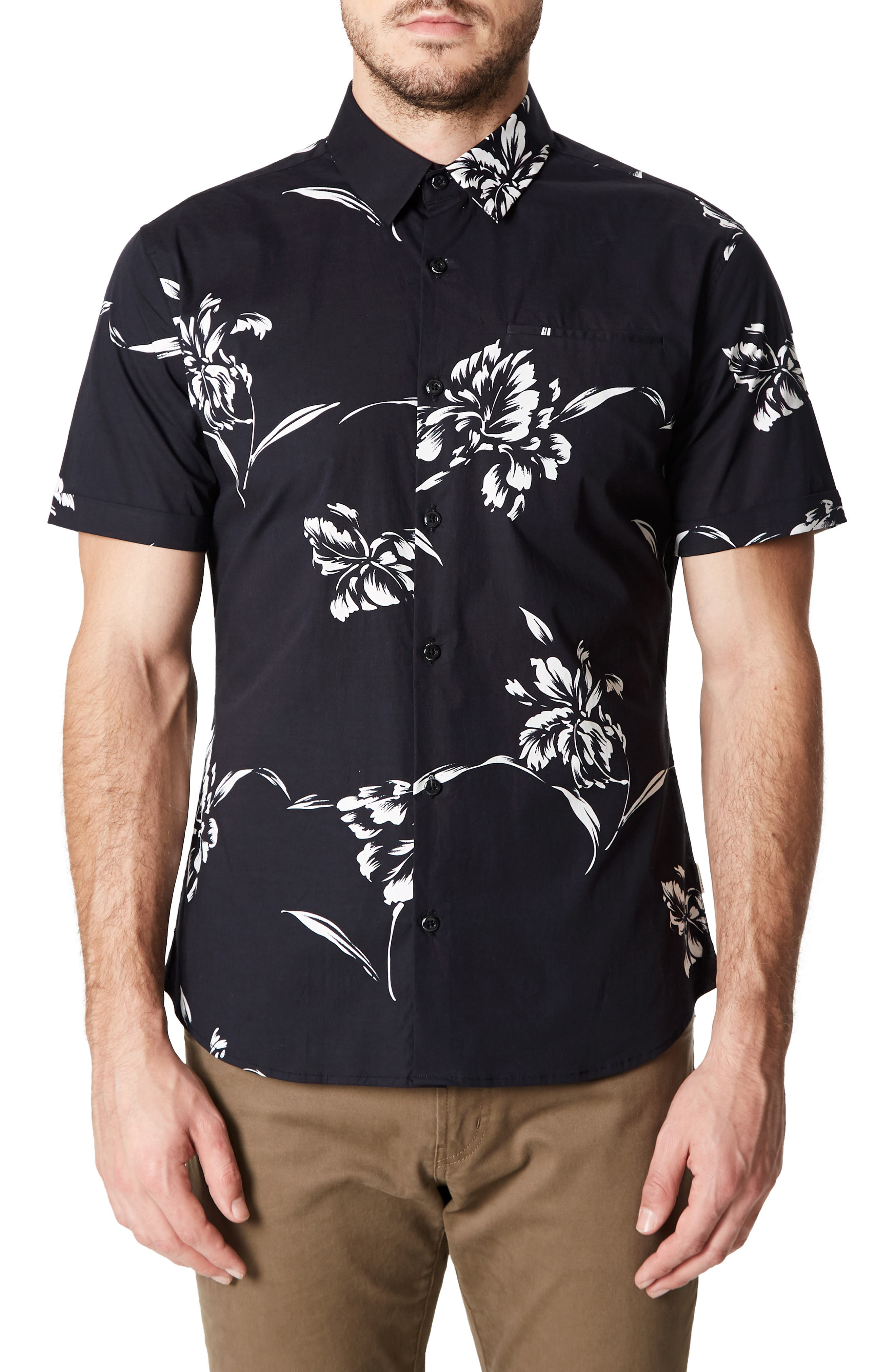 7 Diamonds Harvest Moon Trim Fit Sport Shirt, Black