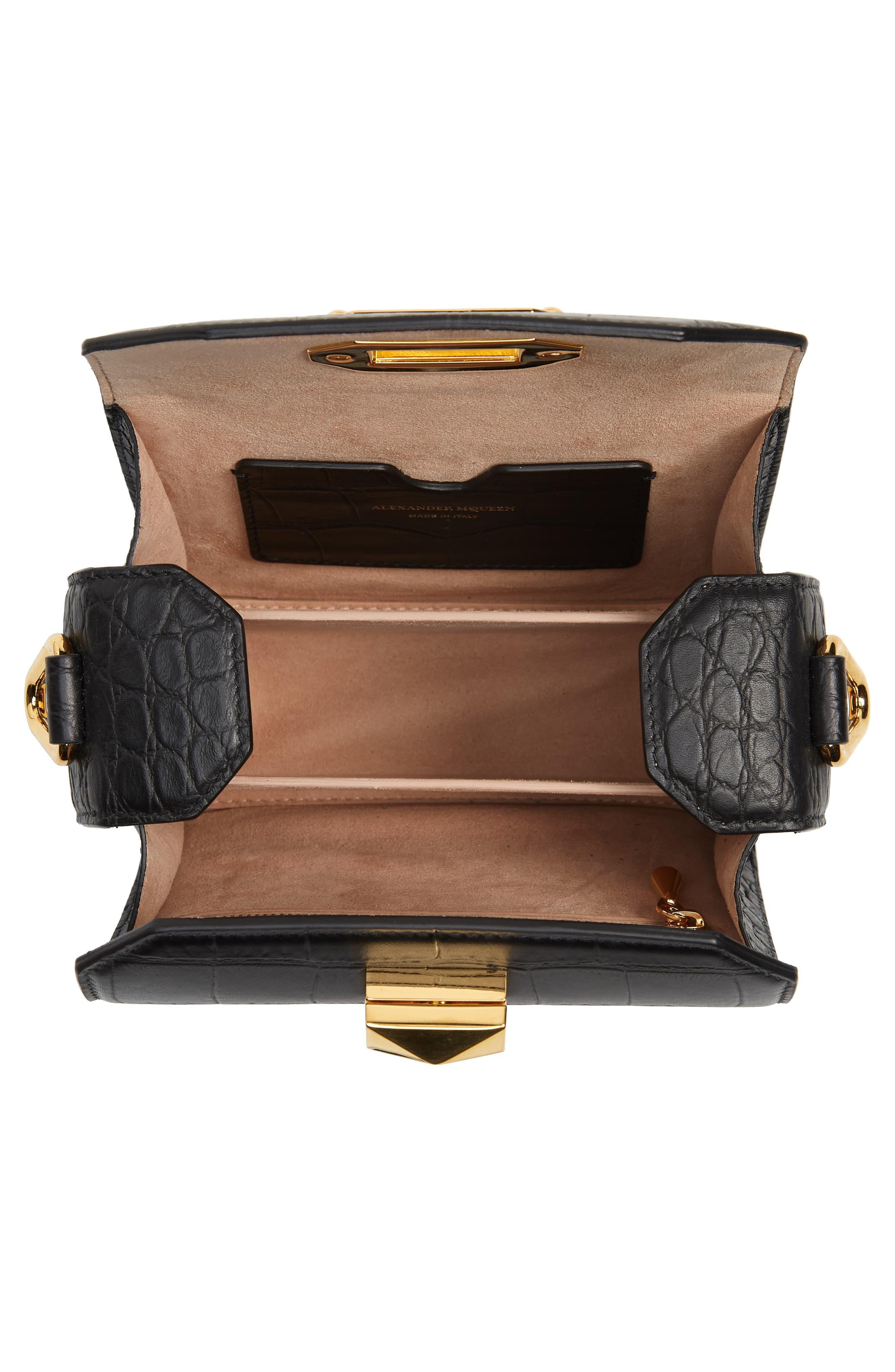 ALEXANDER MCQUEEN,                             Mini Box Croc-Embossed Leather Bag,                             Alternate thumbnail 5, color,                             001