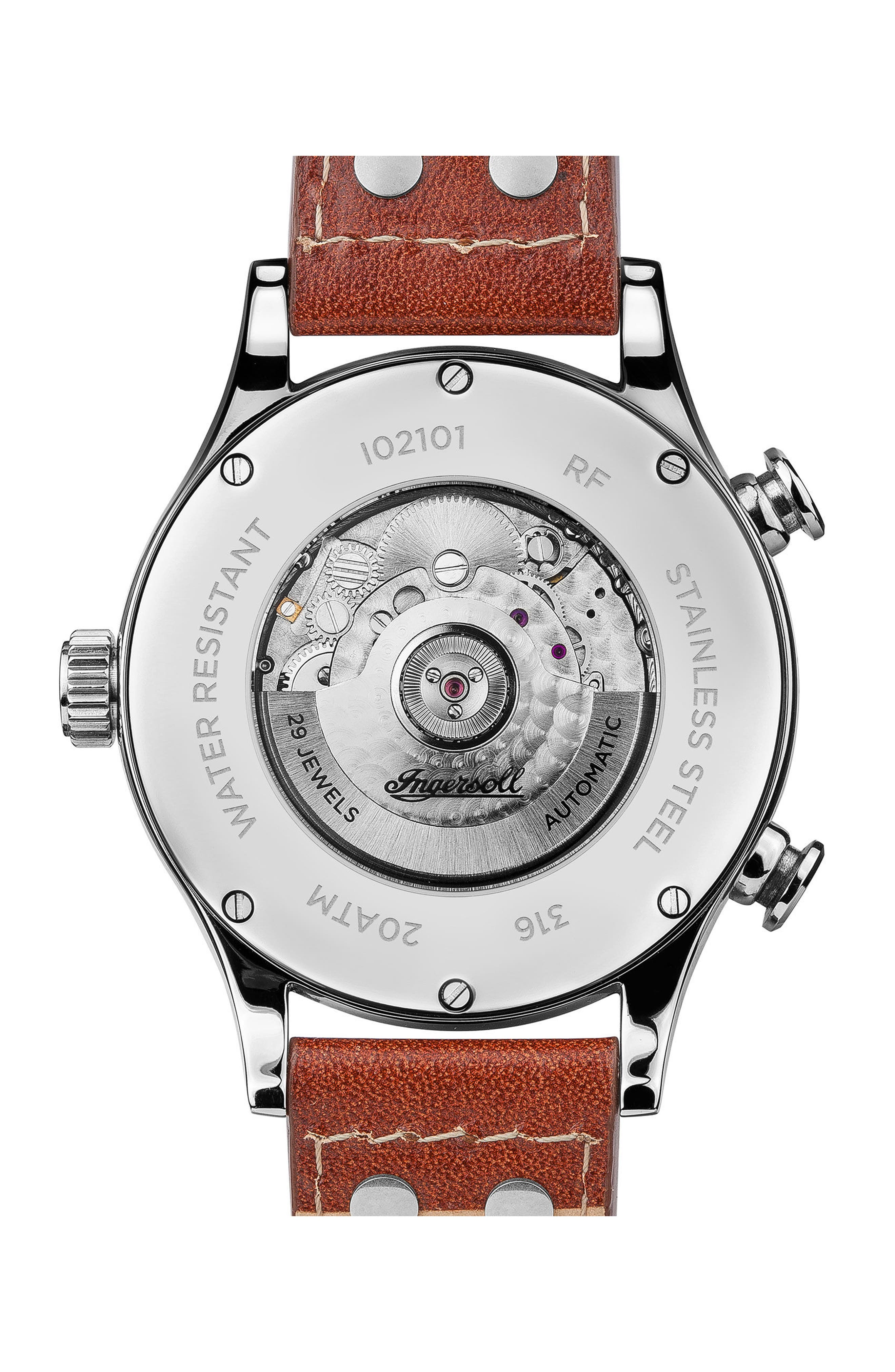 Ingersoll Armstrong Automatic Chronograph Leather Strap Watch, 46mm,                             Alternate thumbnail 2, color,                             BROWN/ CREAM/ SILVER
