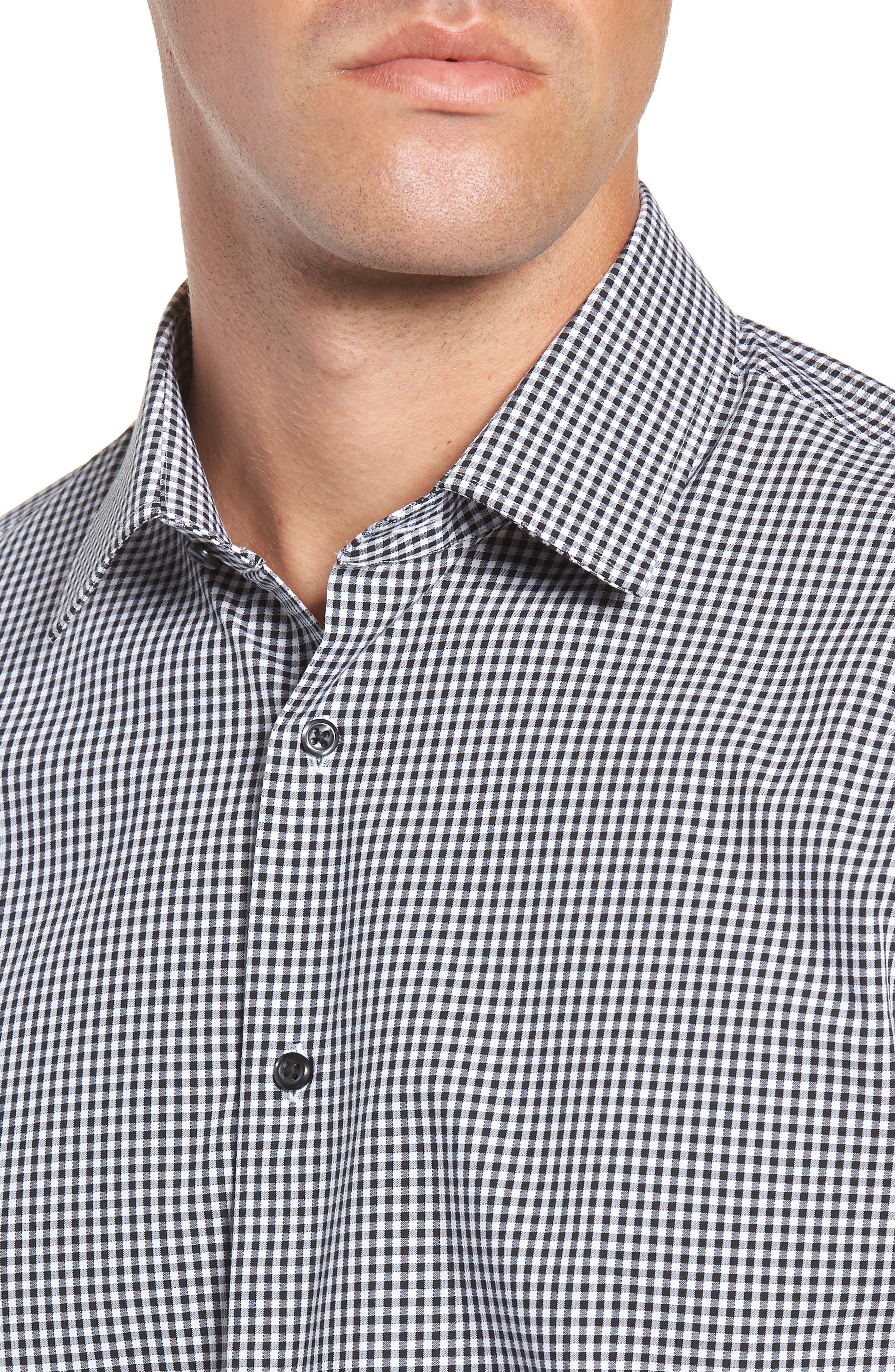 Tech-Smart Trim Fit Stretch Check Dress Shirt,                             Alternate thumbnail 2, color,                             BLACK ROCK