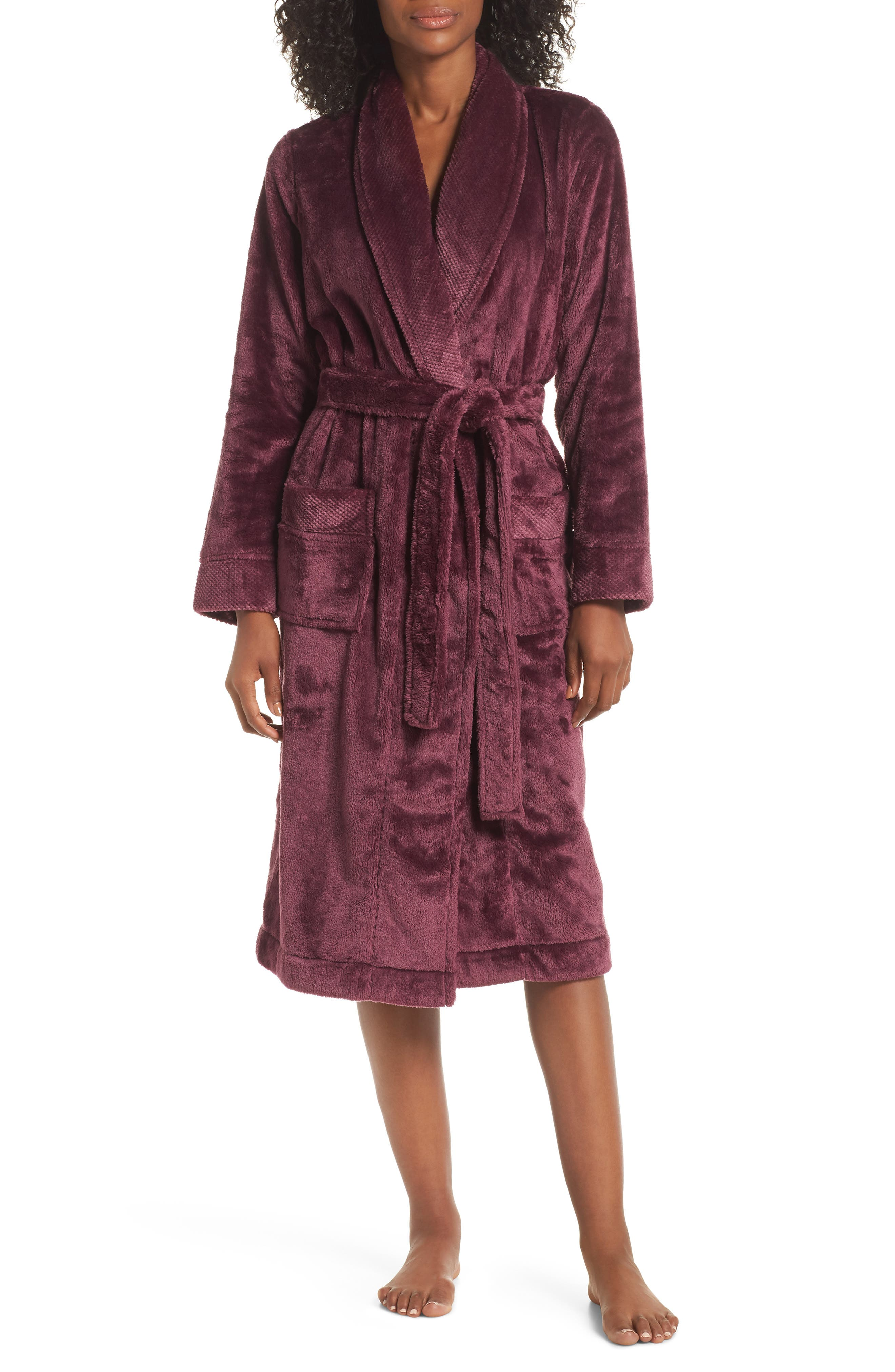 Nordstrom So Soft Plush Robe,                             Main thumbnail 1, color,                             PURPLE CRUSH