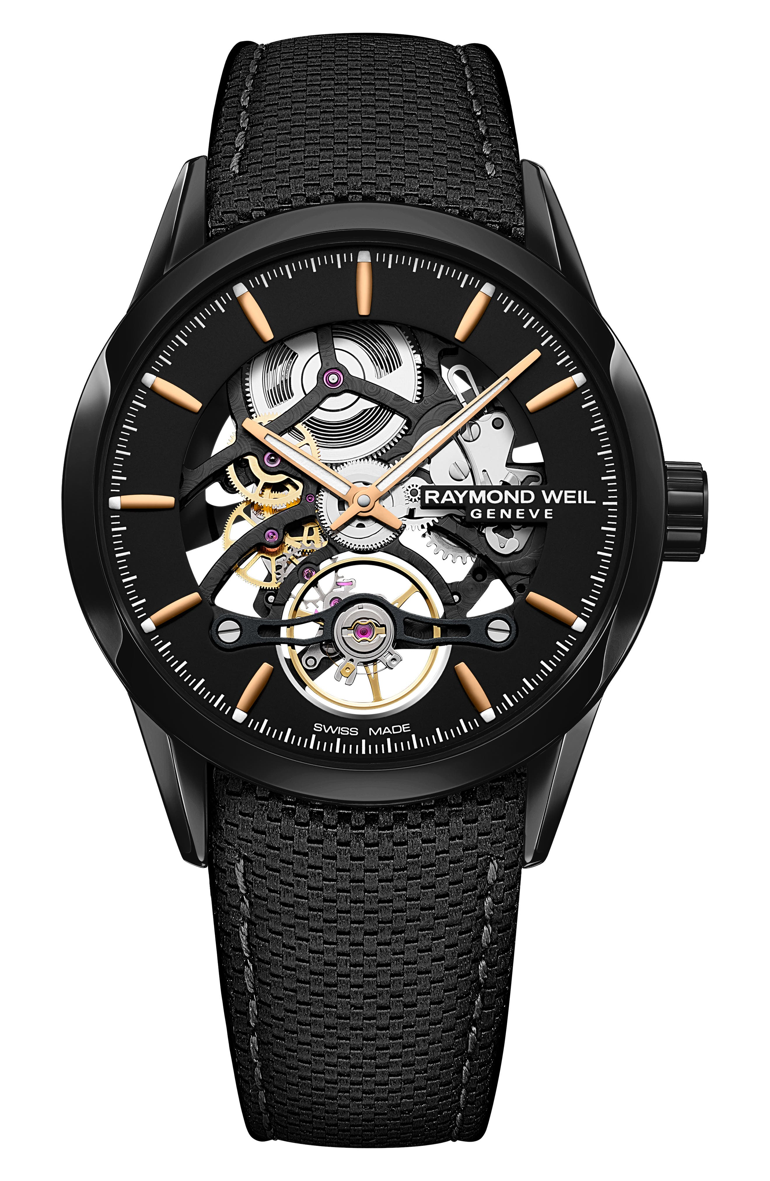 Freelancer Skeleton Automatic Leather Strap Watch, 43mm,                         Main,                         color, BLACK